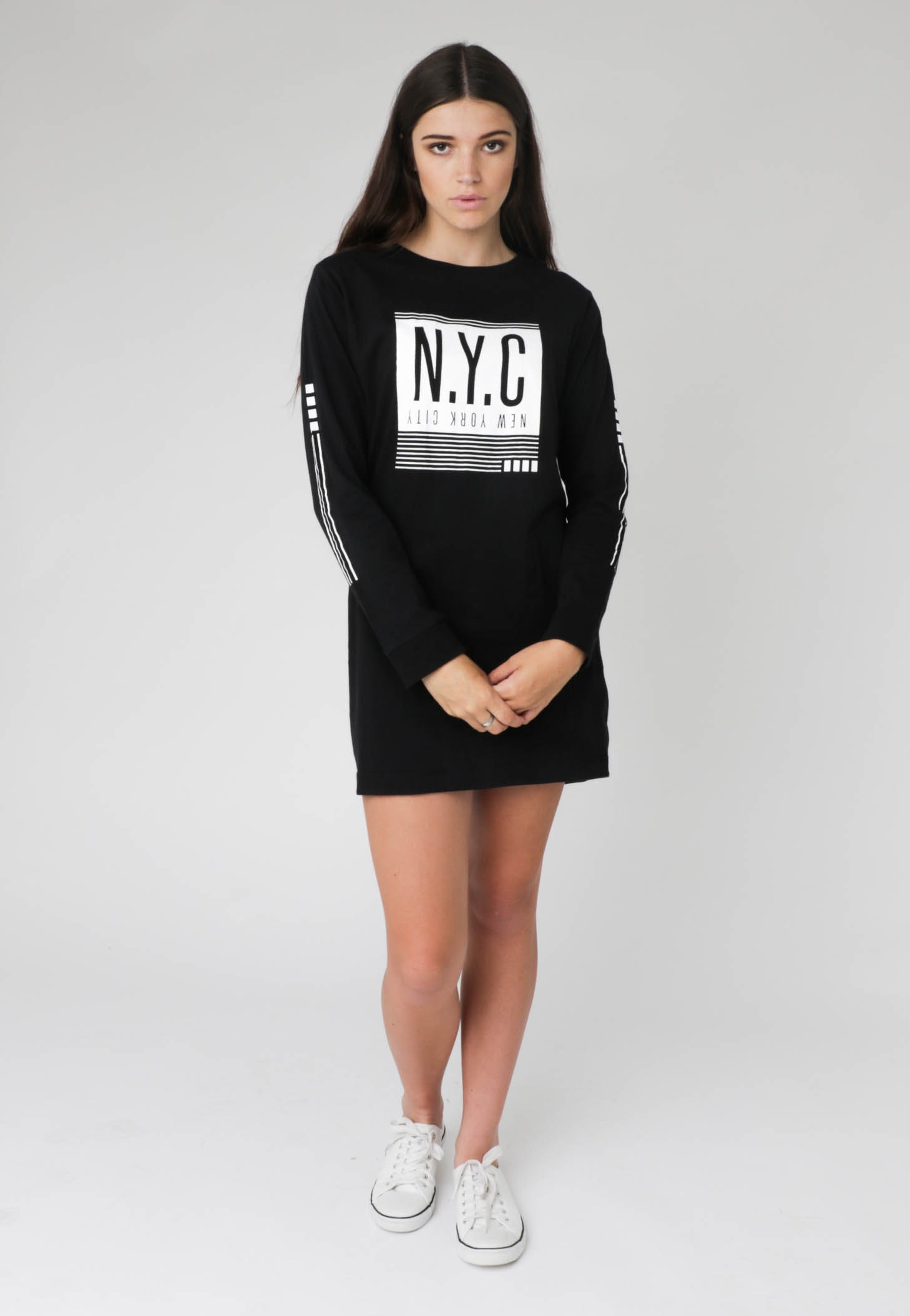 All About Eve - NYC L/S Tee Dress - Black