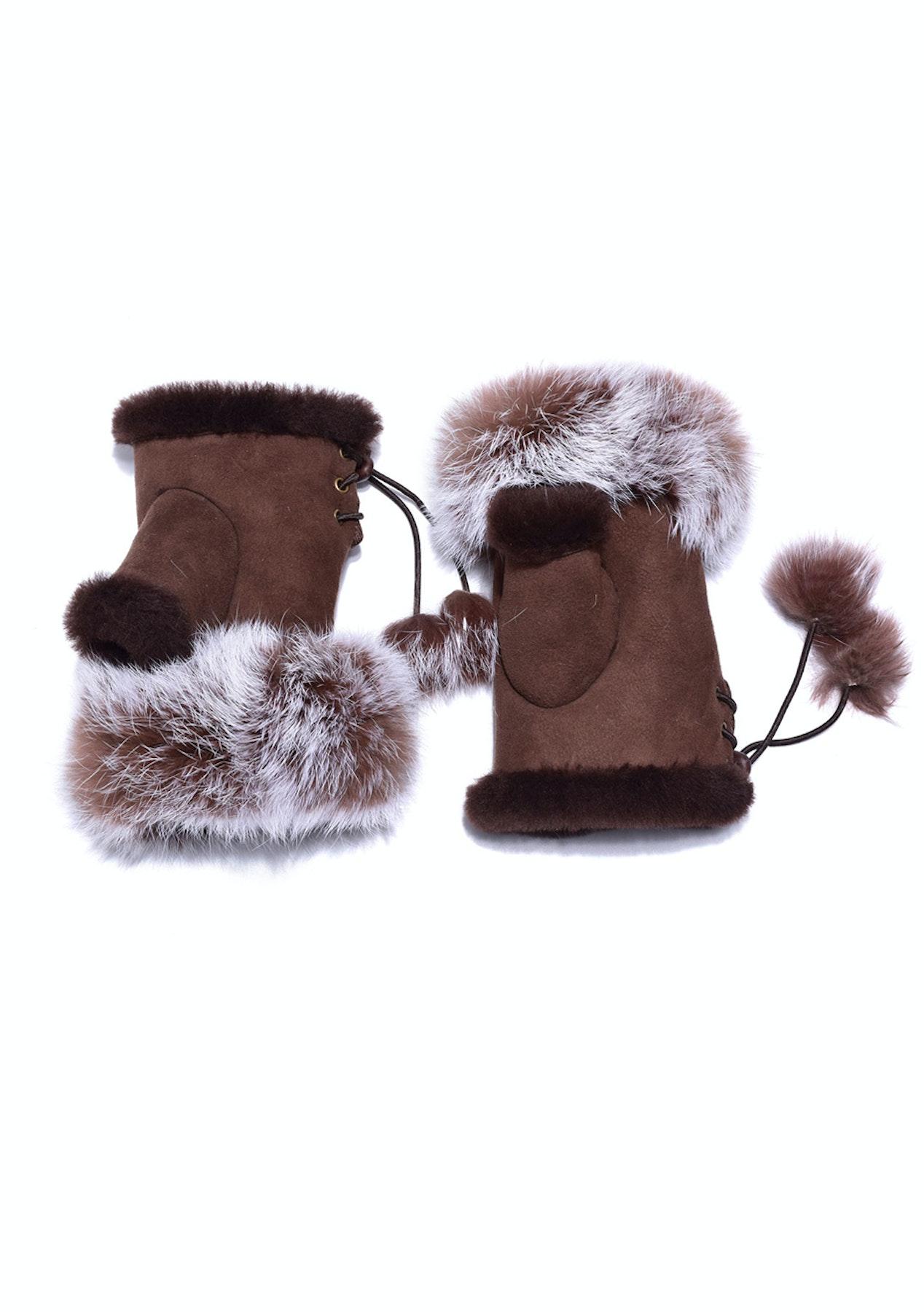 13f15cdc594 Auzland Ugg Australian Fingerless Sheepskin Leather Gloves Chocolate Womens  (Cindy)