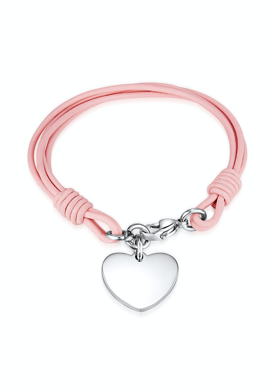 Genuine Cow Leather Heart Bracelet -PNK