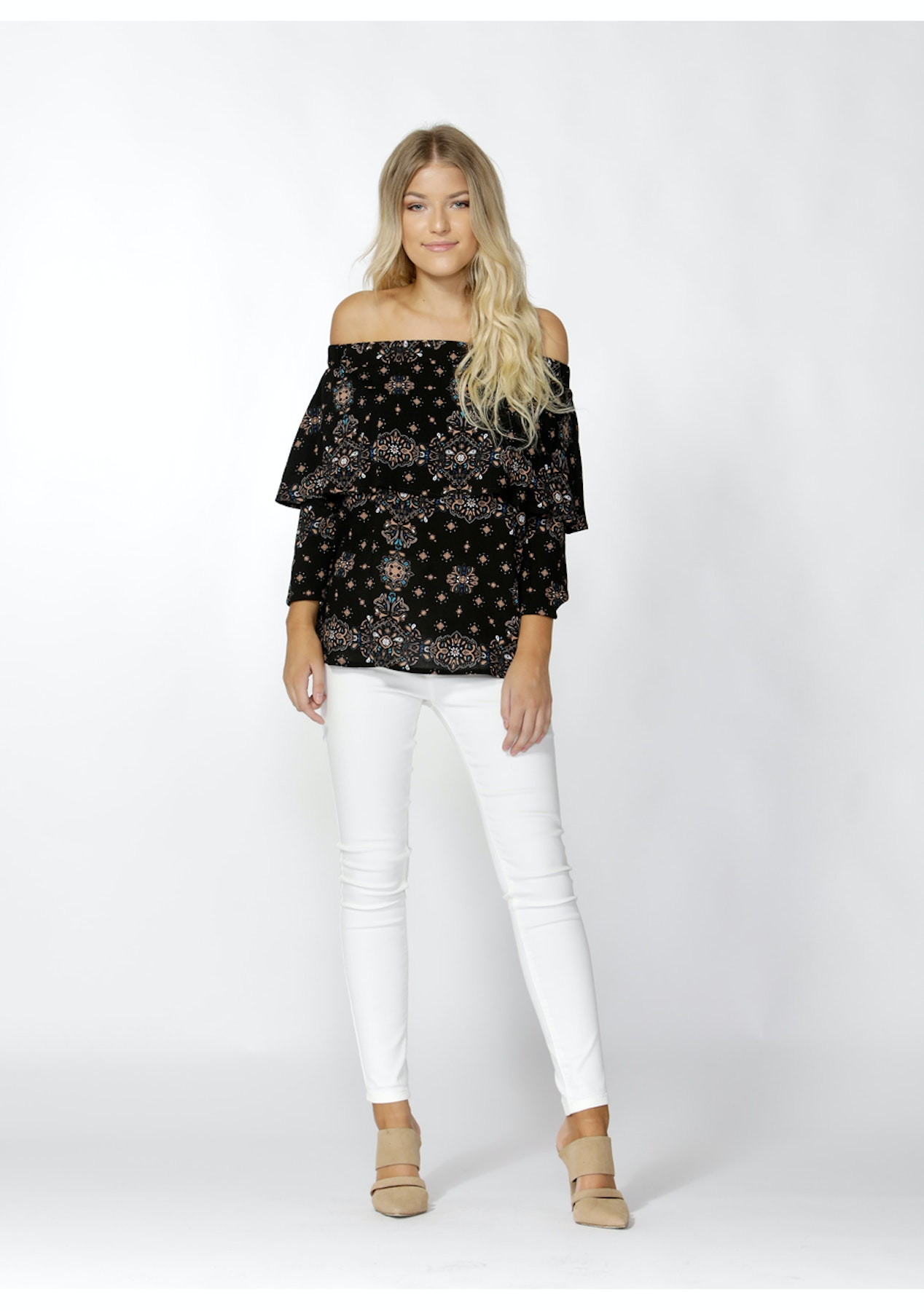 af00d498a9efe3 Sass - Cicley Ruffle Overlay Blouse - Cicley Print - Under $20 Womens -  Onceit