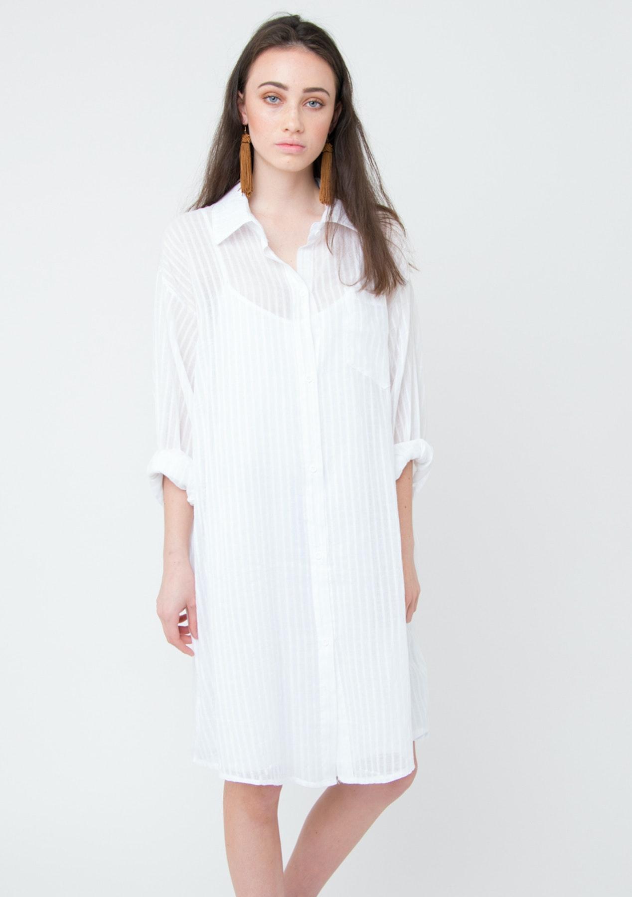 Fashion Edit Her Boyfriend Shirt Dress White Fashion
