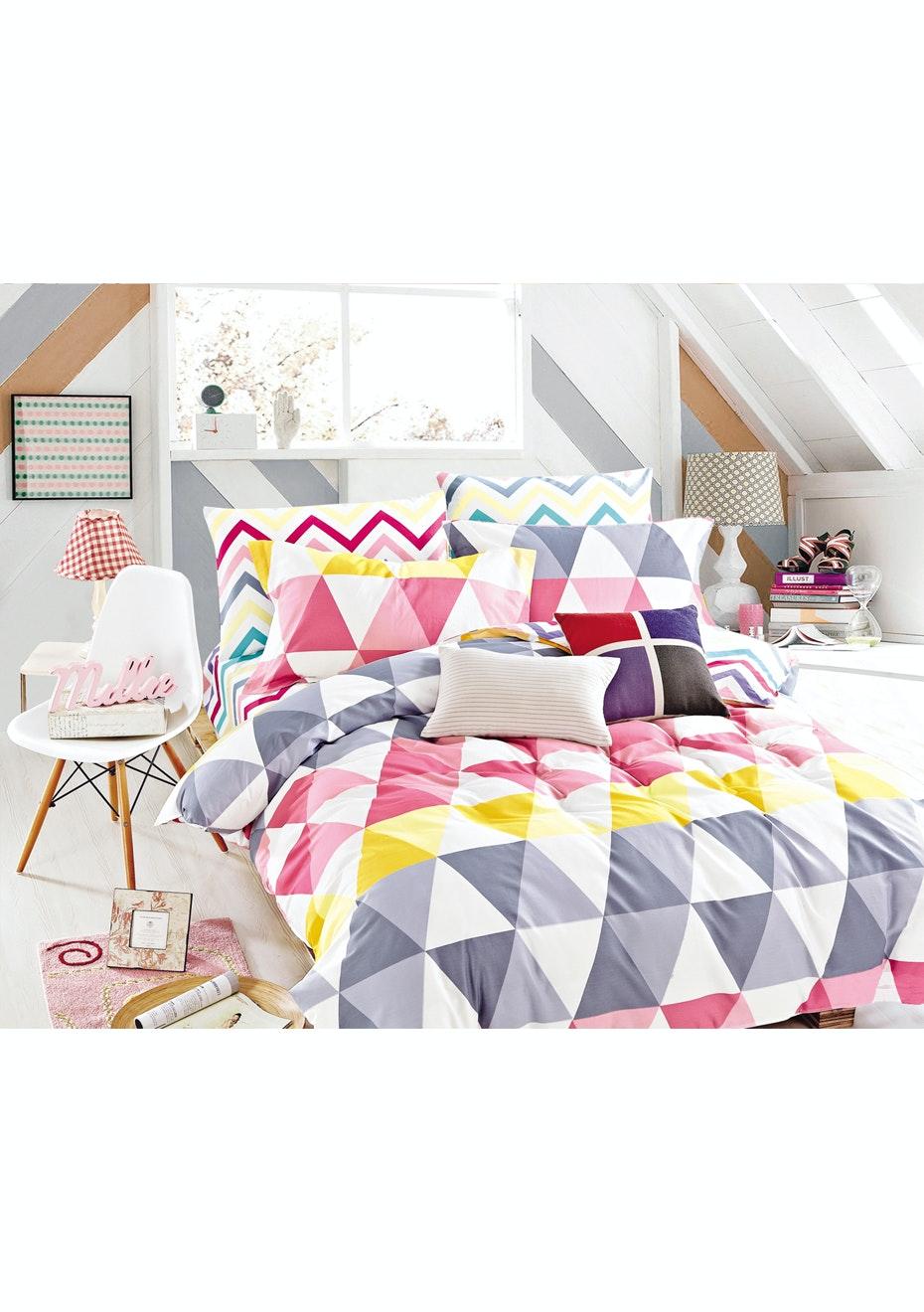 Calypso Quilt Cover Set - Queen Bed - Reversible Design