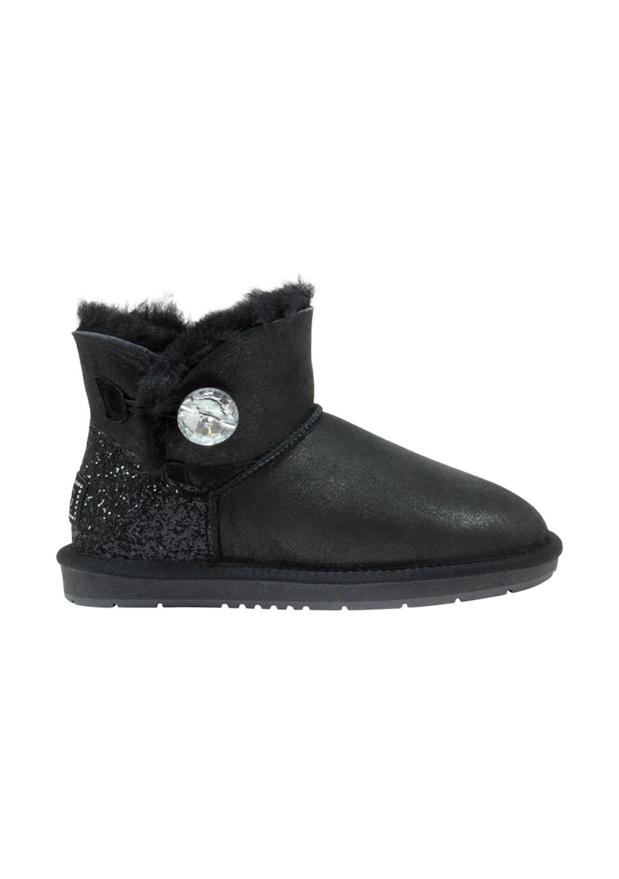 6eca6516bc6 Auzland Ugg Boots Women's Nappa Mini Crystal Button Water Resistant  Australian Sheepskin Black