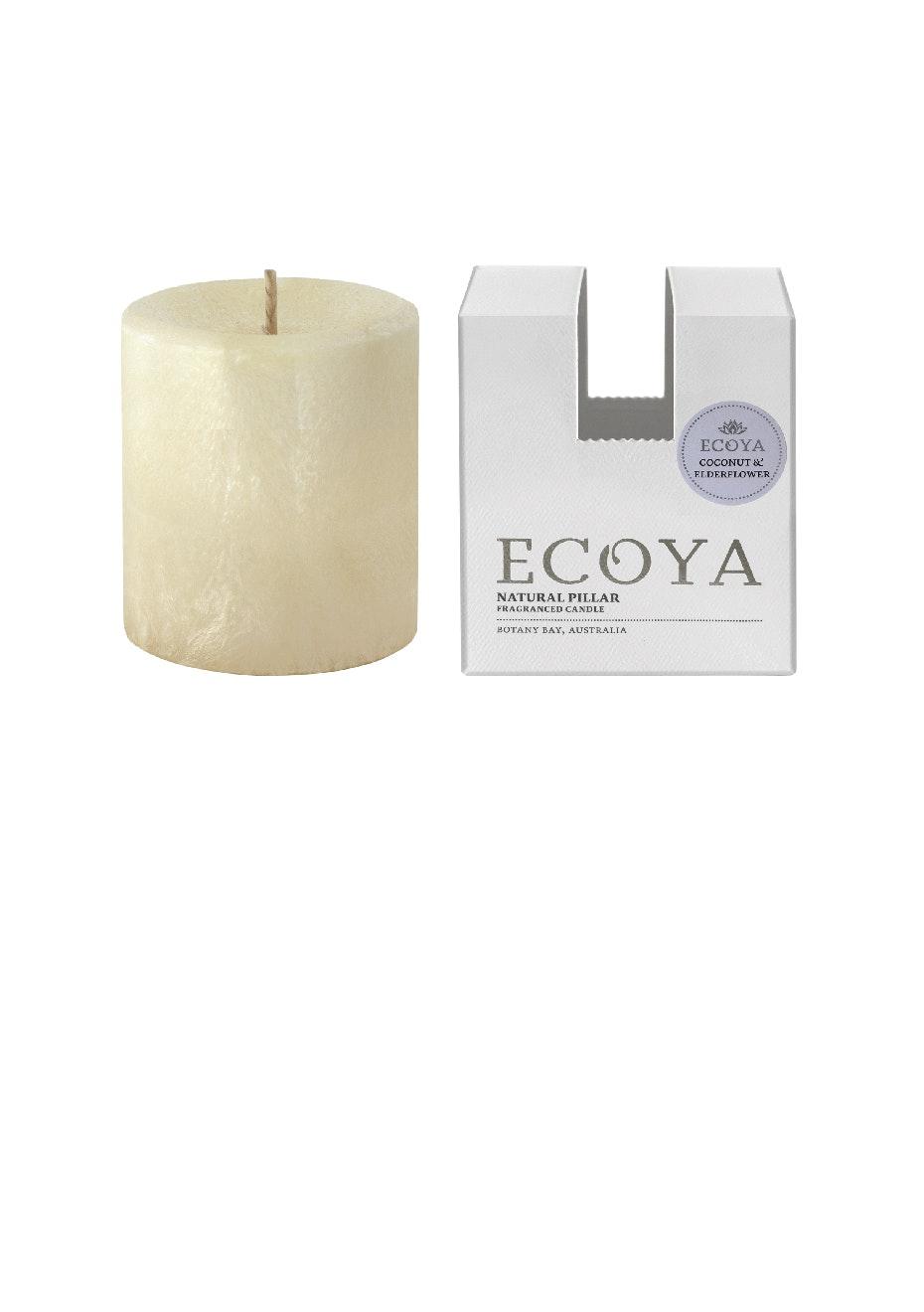 Ecoya - Pillar 75X85 Natural - Coconut & Elderflower