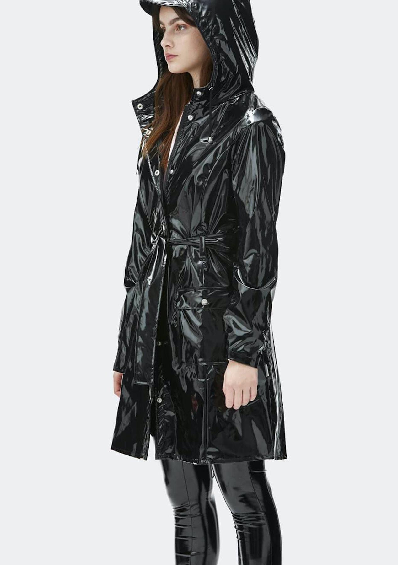 Rains - Womens Glossy Curve Jacket - Black - Rains 50% Off - Onceit 95edbd15b5