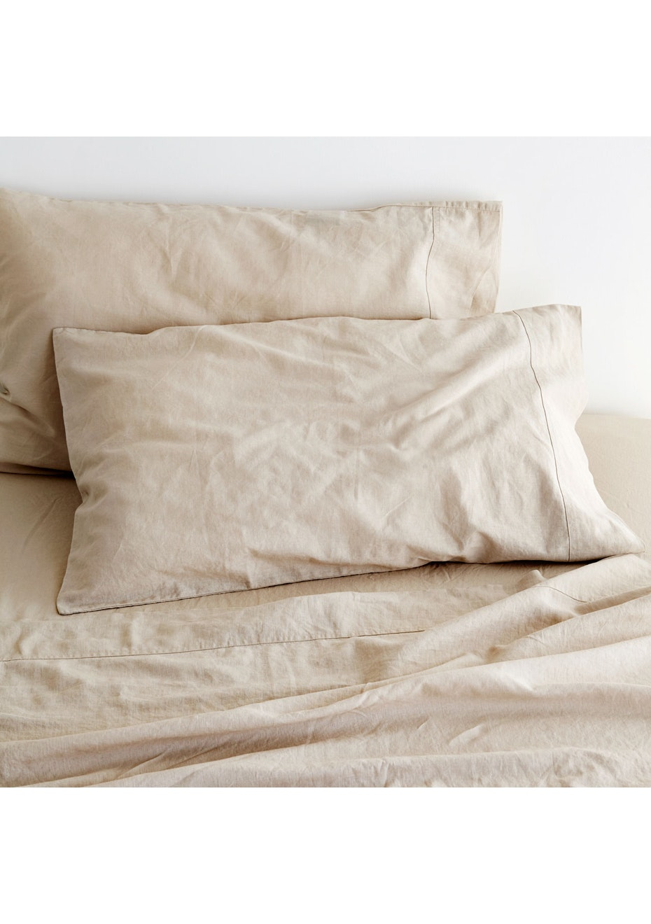 Sogno Linen Cotton Sheet Set Cappuccino Taupe King Bed