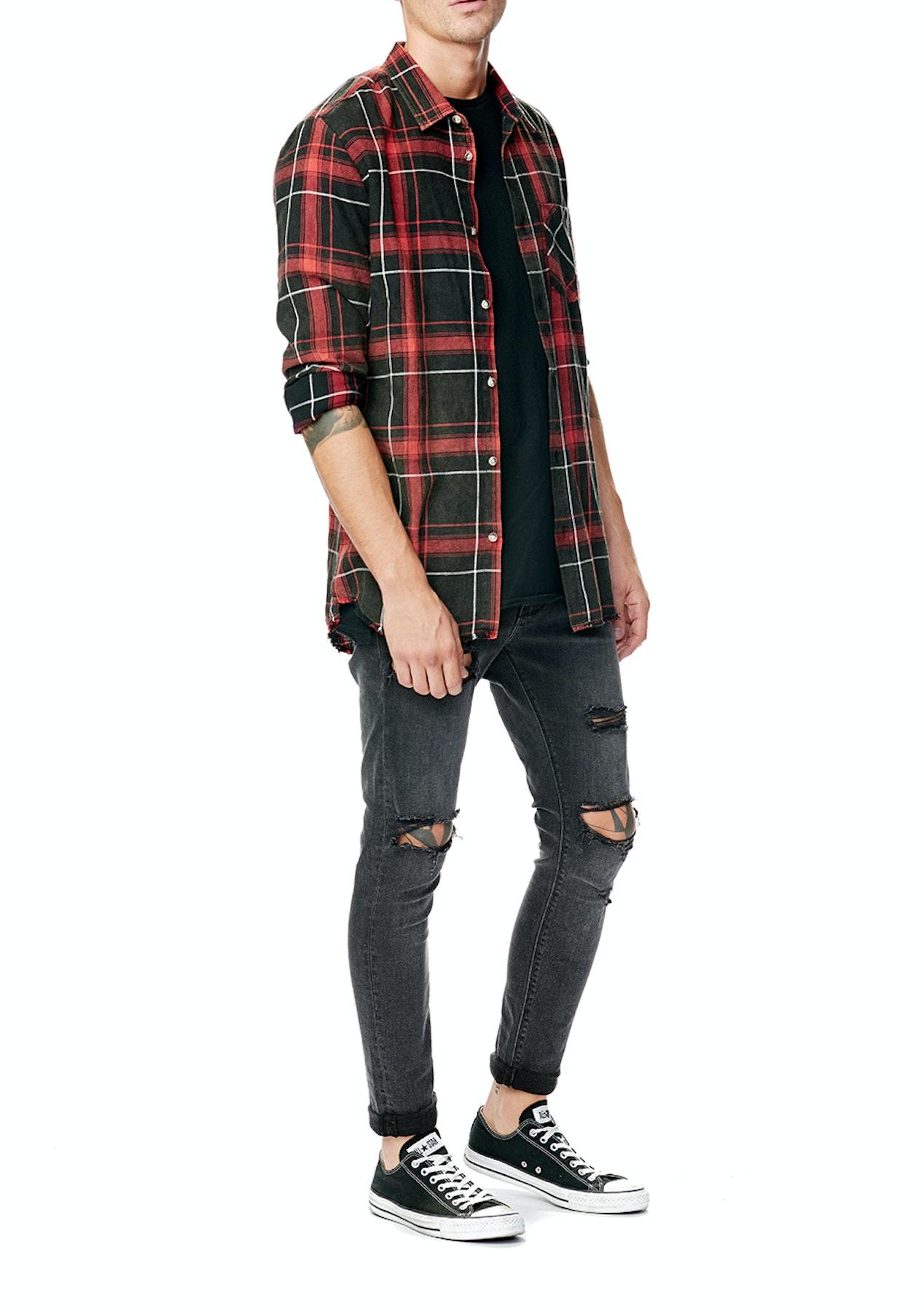 A Brand - Shred Check Shirt - Shred Red