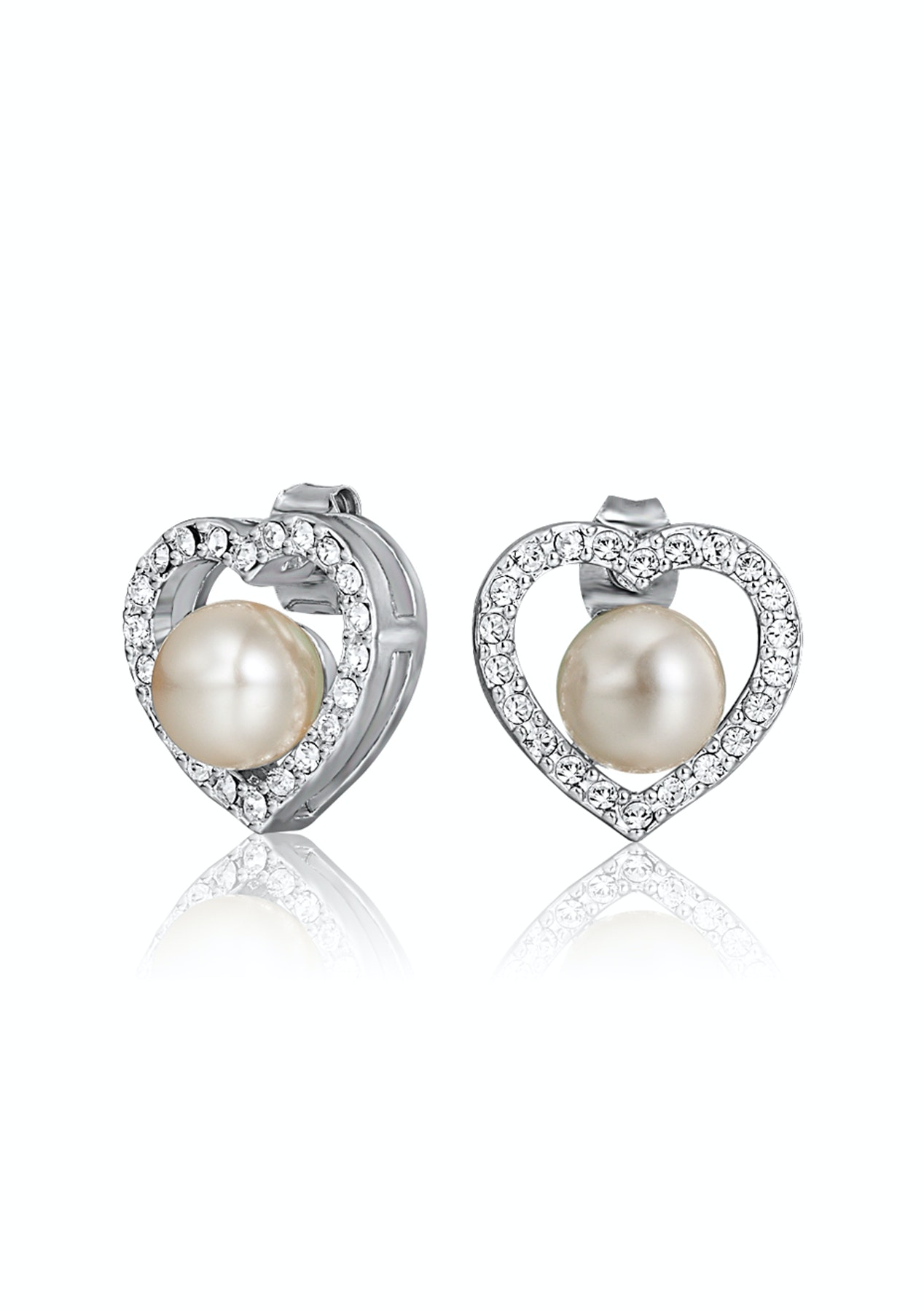 Pearl Heart Earrings Embellished with Crystals from Swarovski ...