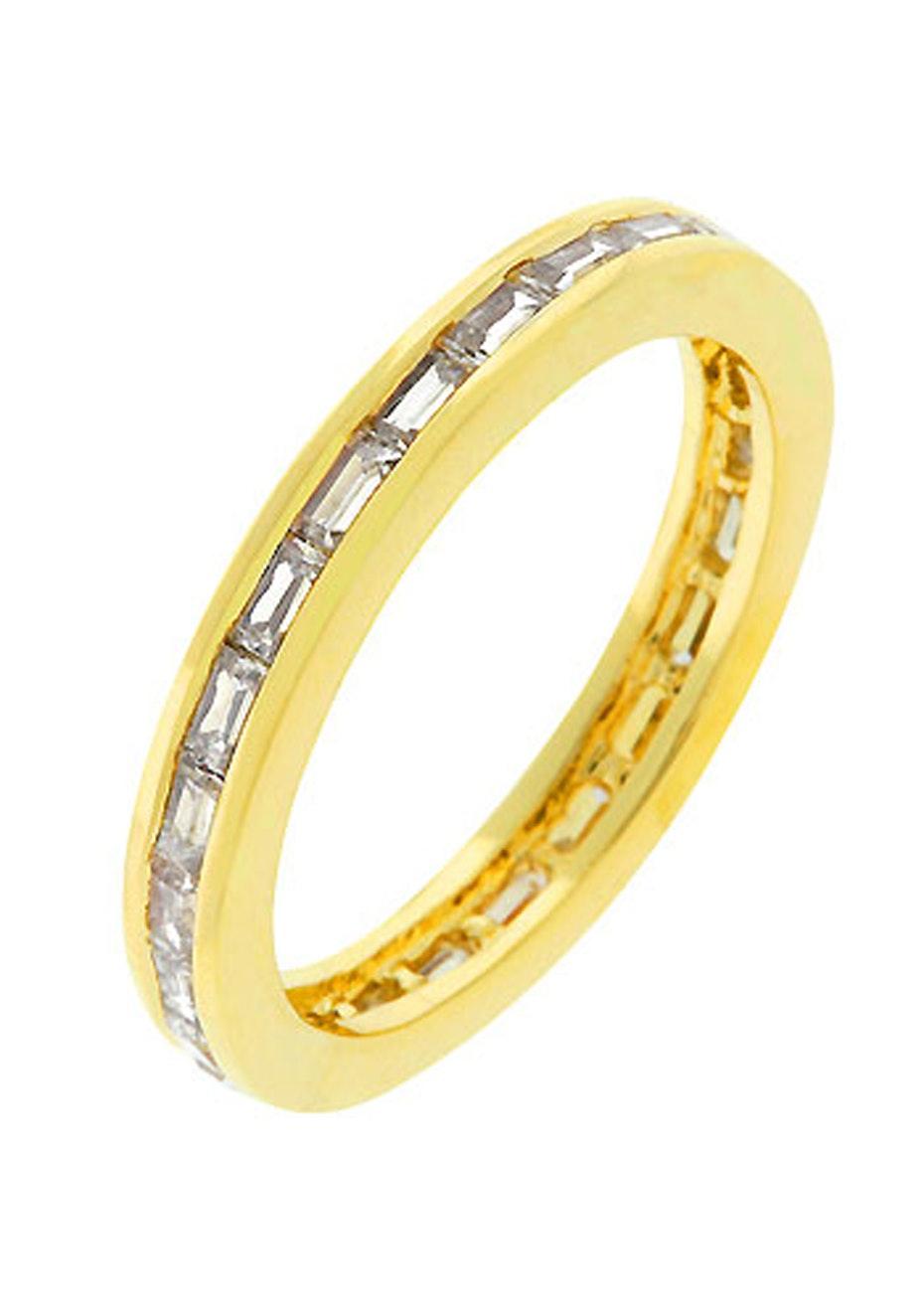 Baguette encrusted Ring 14k Gold Finish