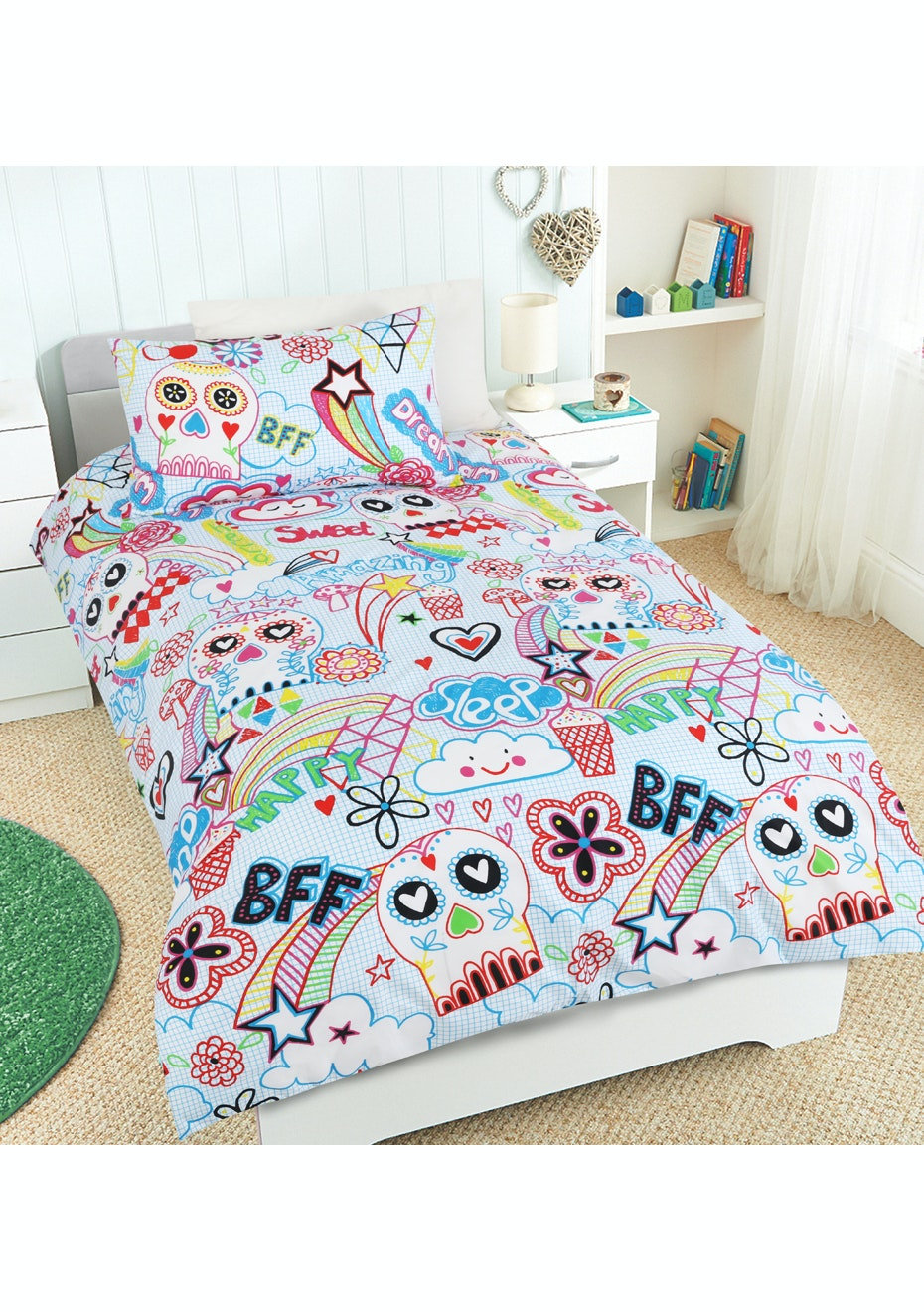 Scribble Skulls Glow in the Dark Quilt Cover Set - Double Bed