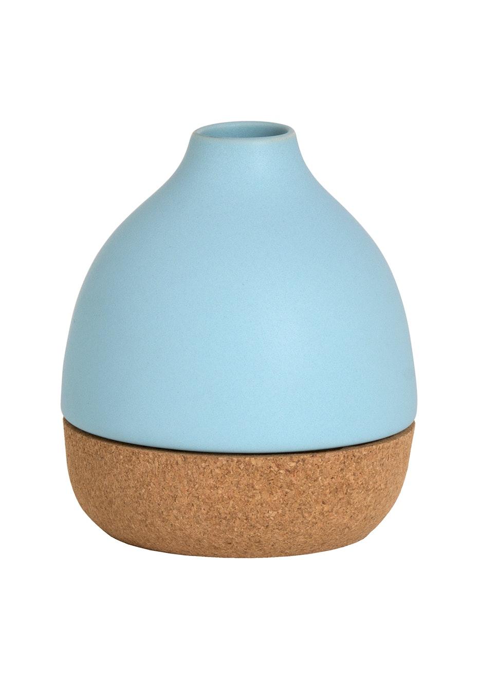 Cork Base Vase - Duck Egg/Cork