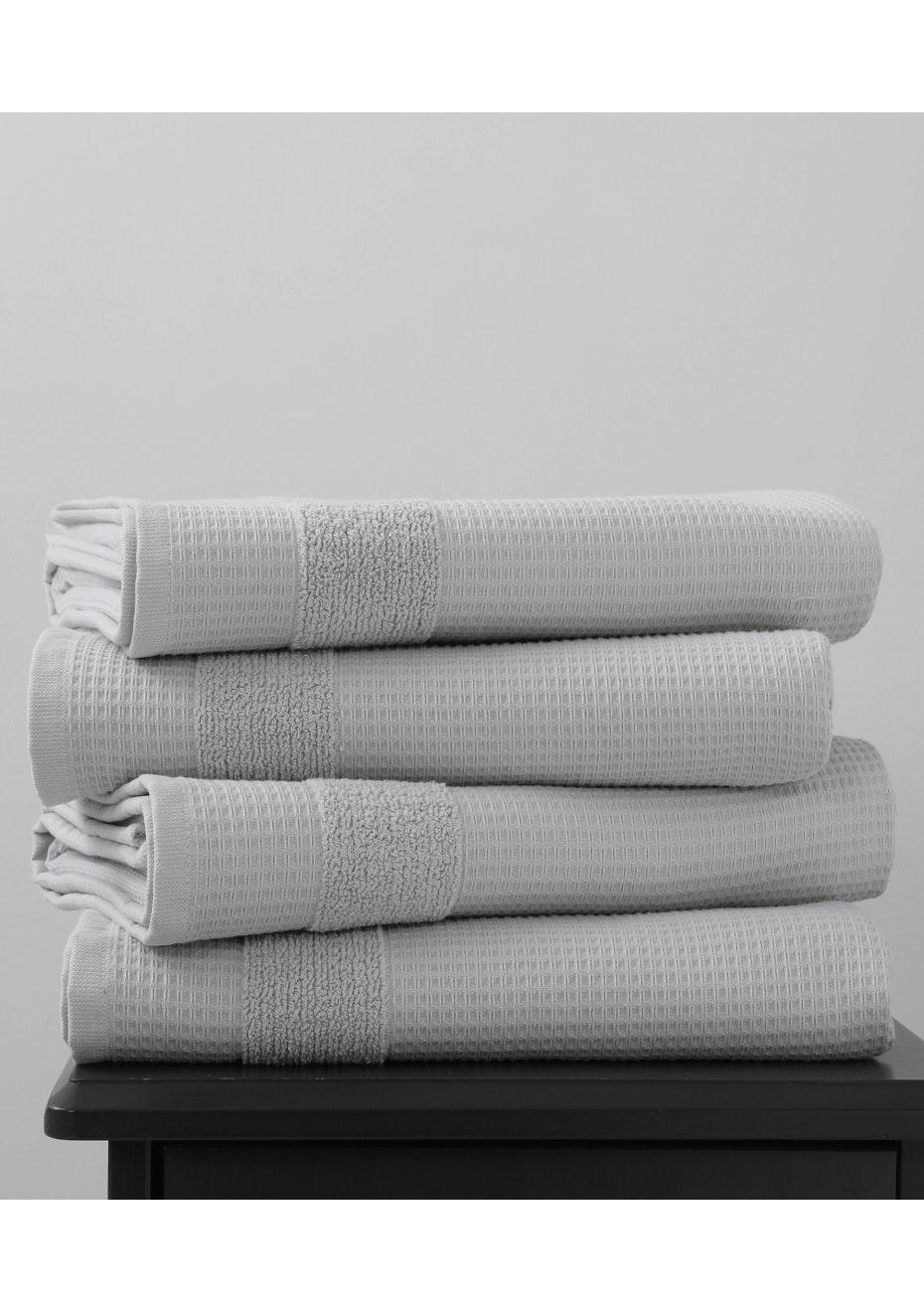 Silver 600gsm Waffle Bath Towel