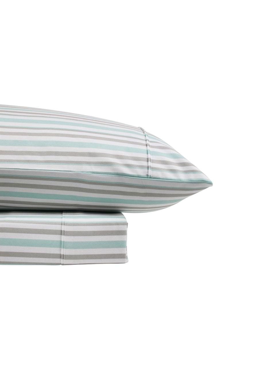 Thermal Flannel Sheet Sets - Stripe Design - Ice/Glacier - Double Bed