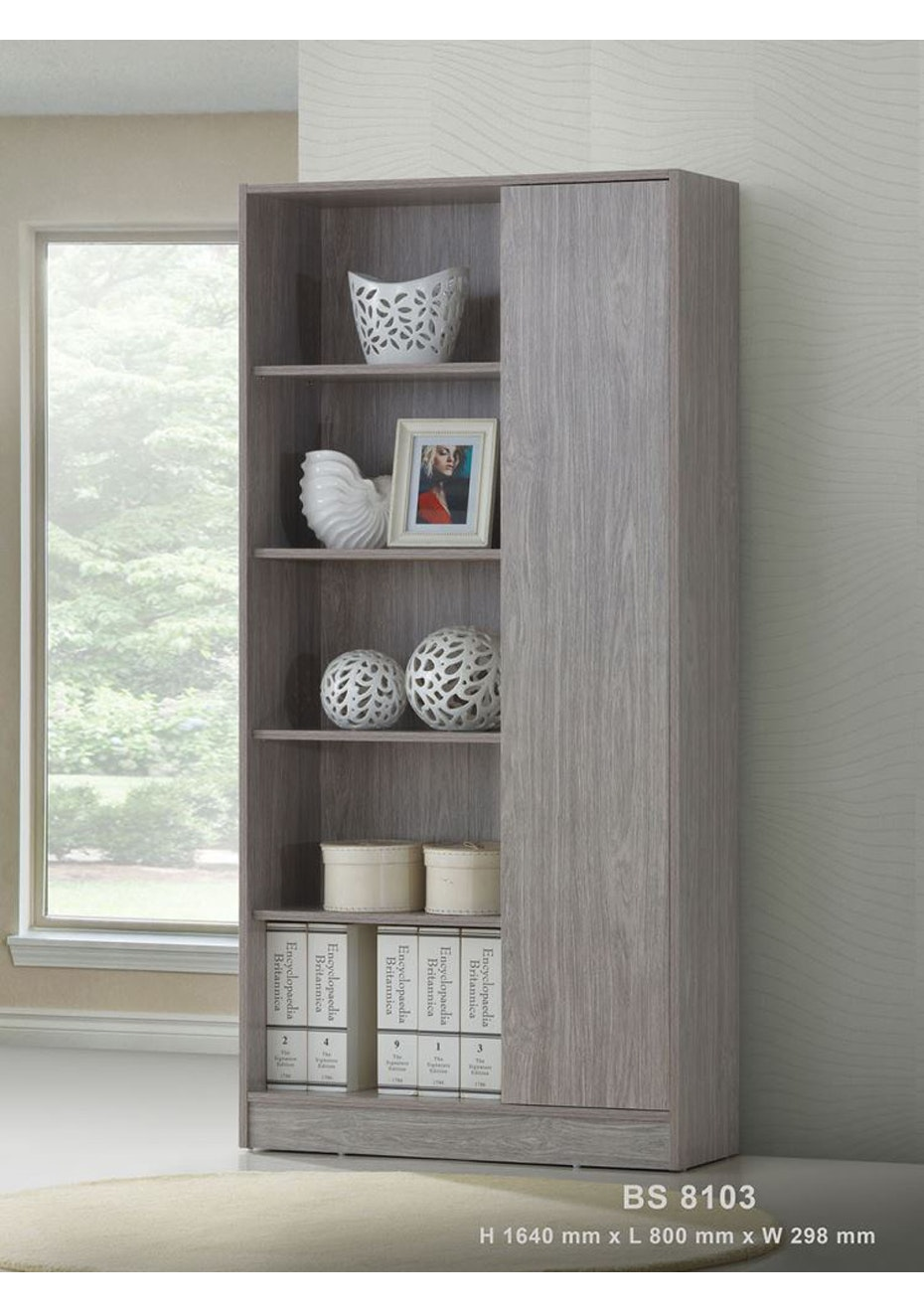 Tall book cabinet - Washed Grey