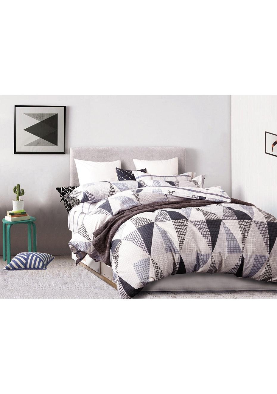 Altona Quilt Cover Set - Reversible Design - 100% Cotton - Single Bed