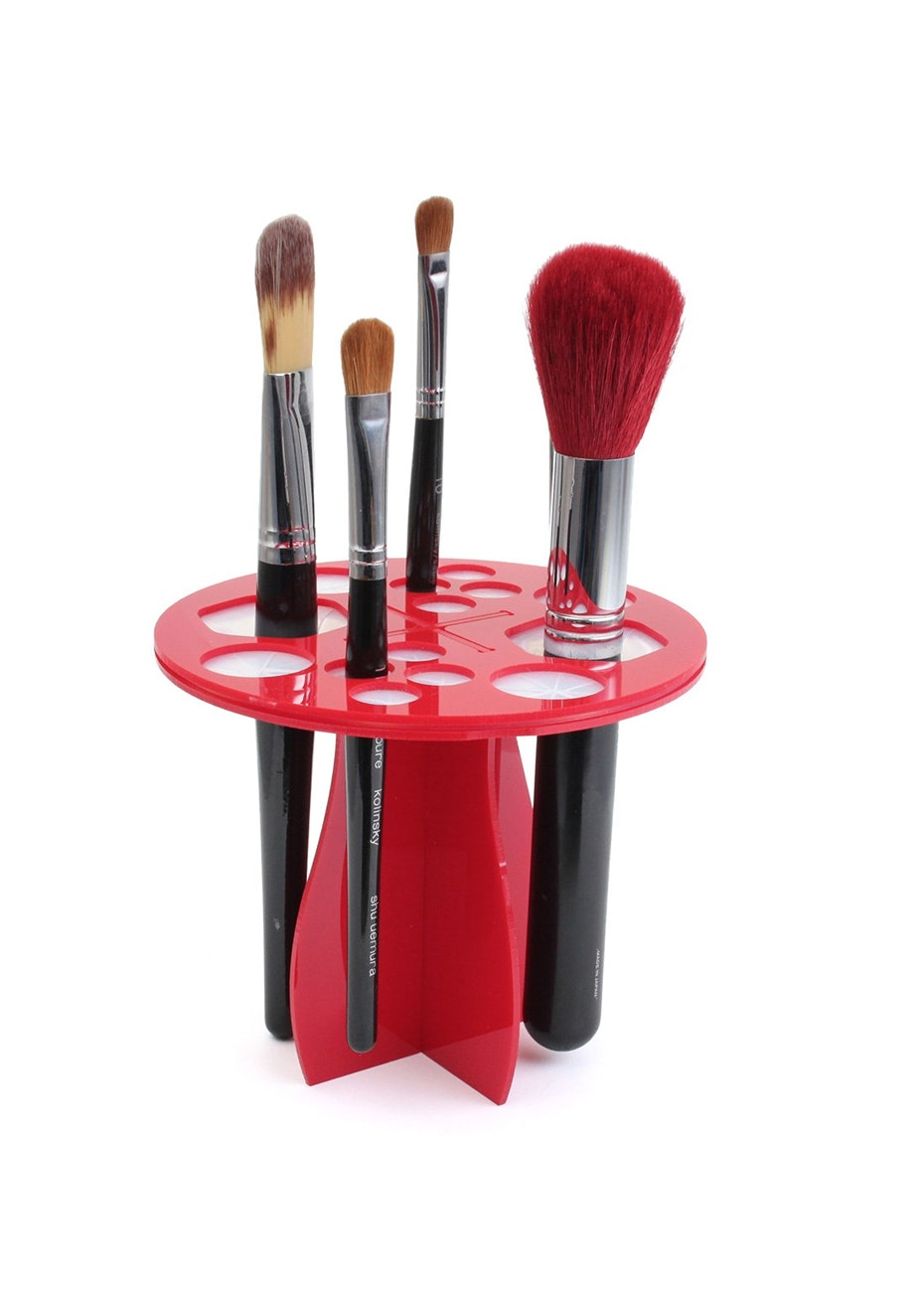 Makeup Brush Rack Storage Holder Stand & Dryer -Red