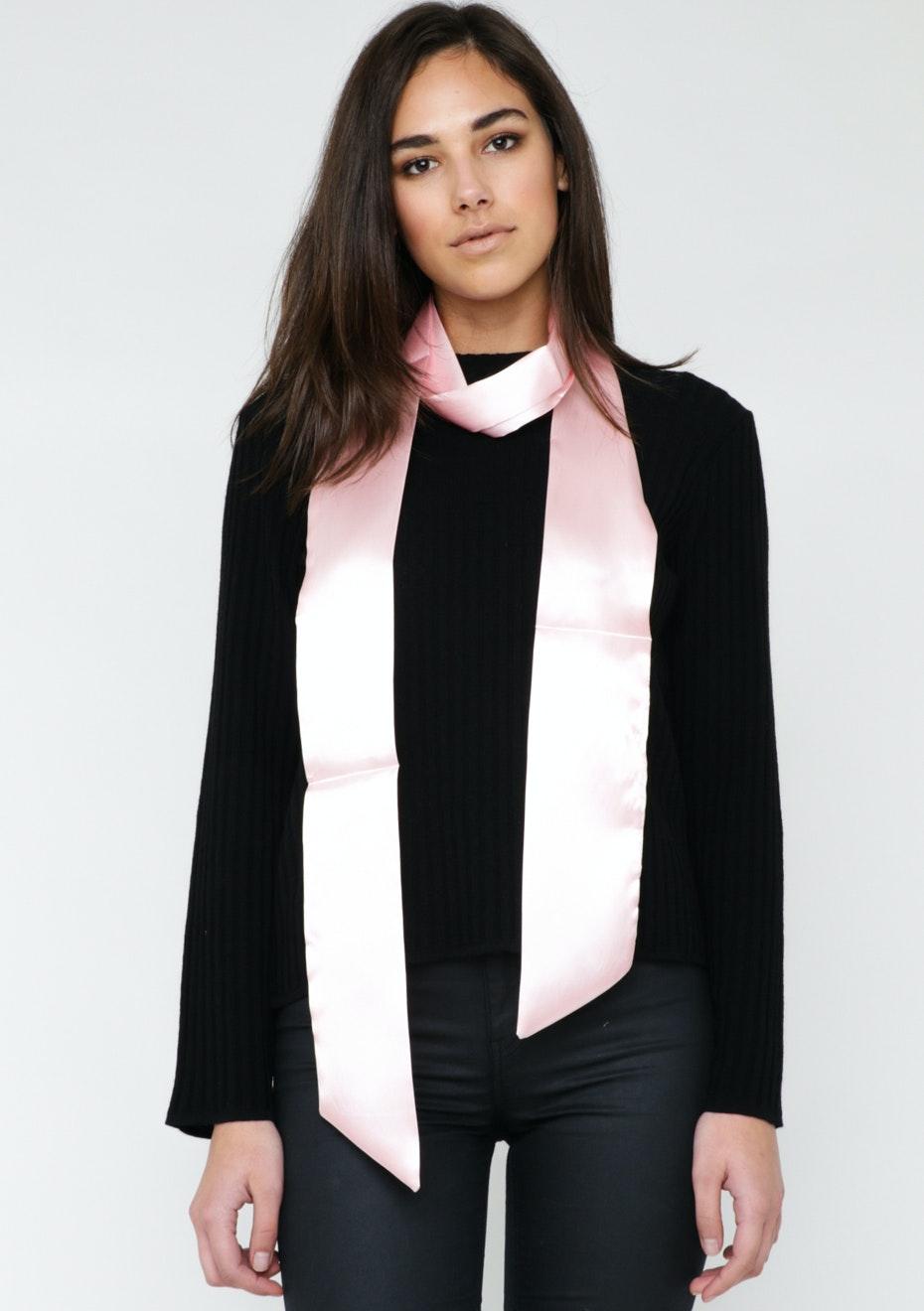 Satin Solid Skinny Tie Scarf - Pink
