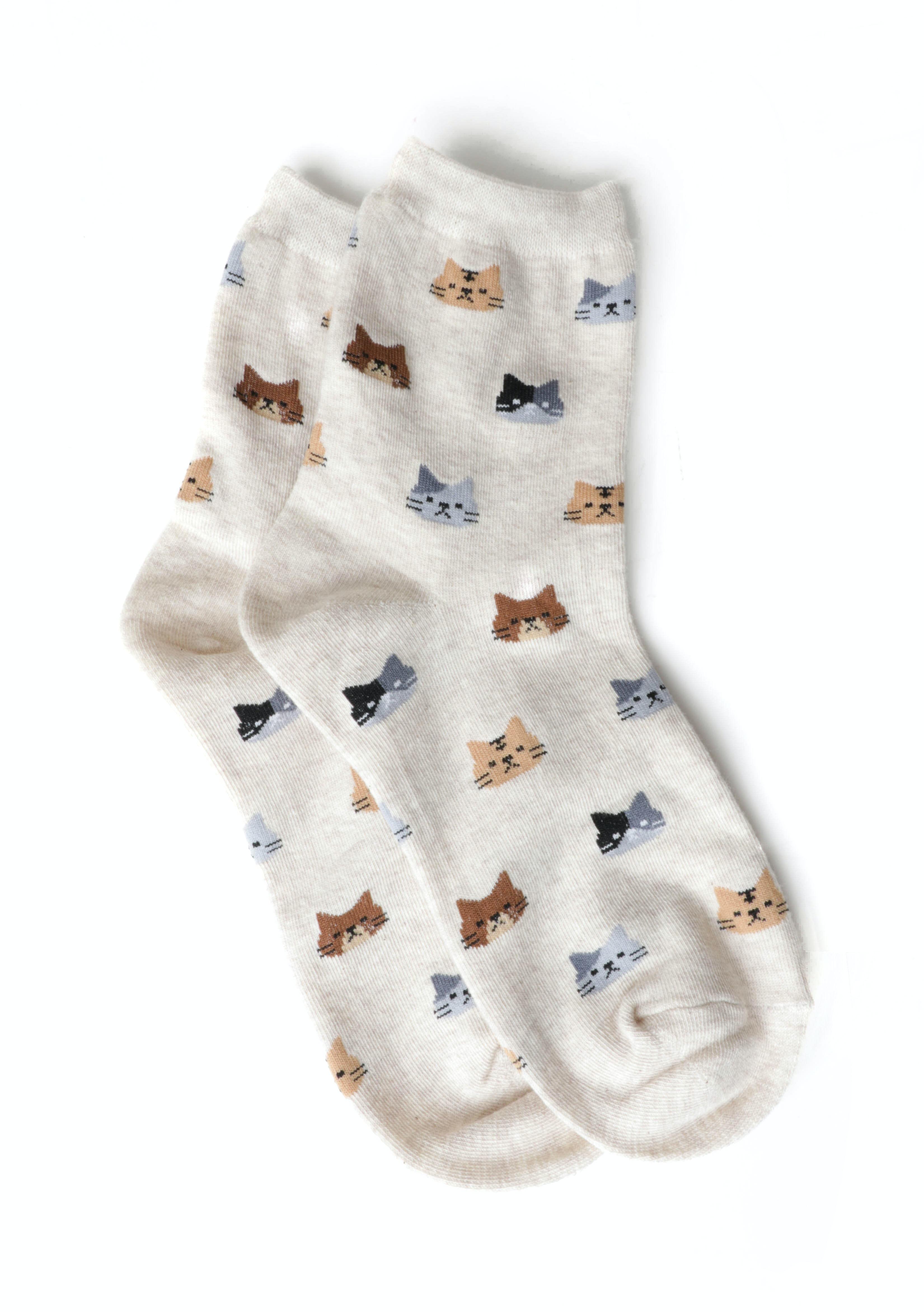 Cat Socks - Beige