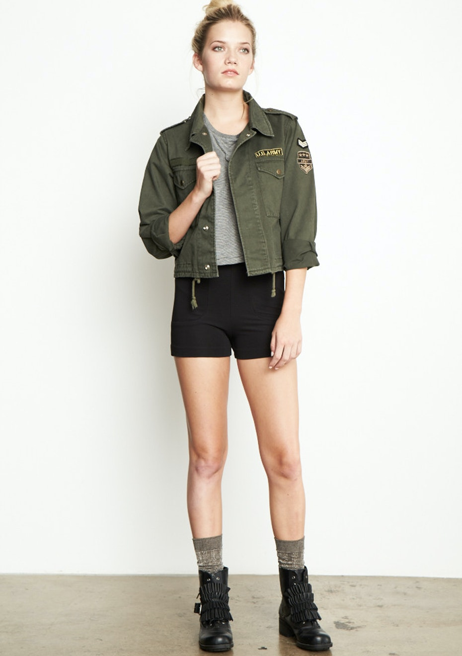 Achro - Cropped Length Military Jacket  - Olive