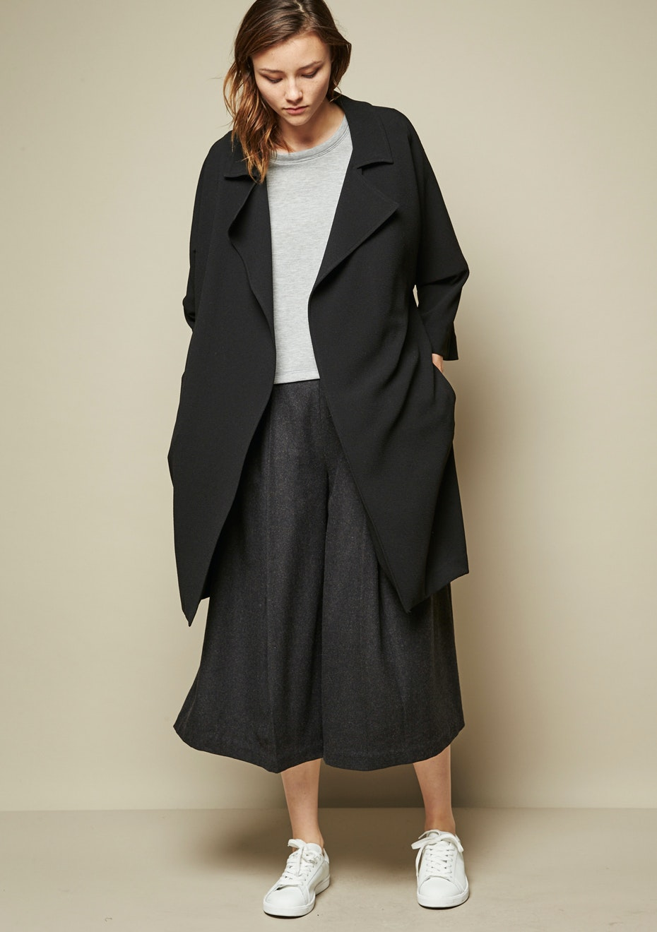 Achro - Relaxed Fit Cocoon Coat - Black