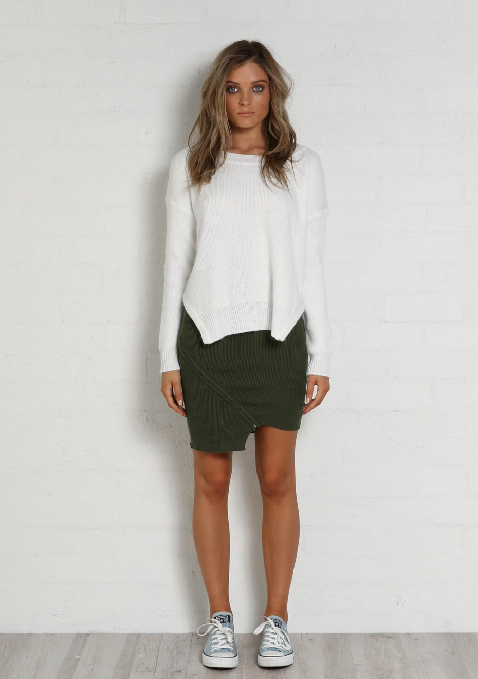 Madison - FRANKIE SCOOP KNIT - WHITE