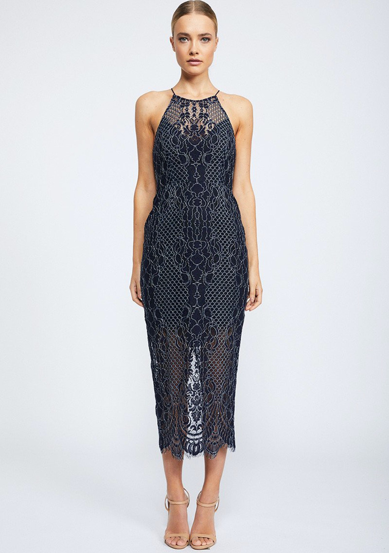 Shona Joy - Lace High Neck Midi Dress - Navy - Free Shipping Shona Joy    Isla - Onceit 80054e5ea97b