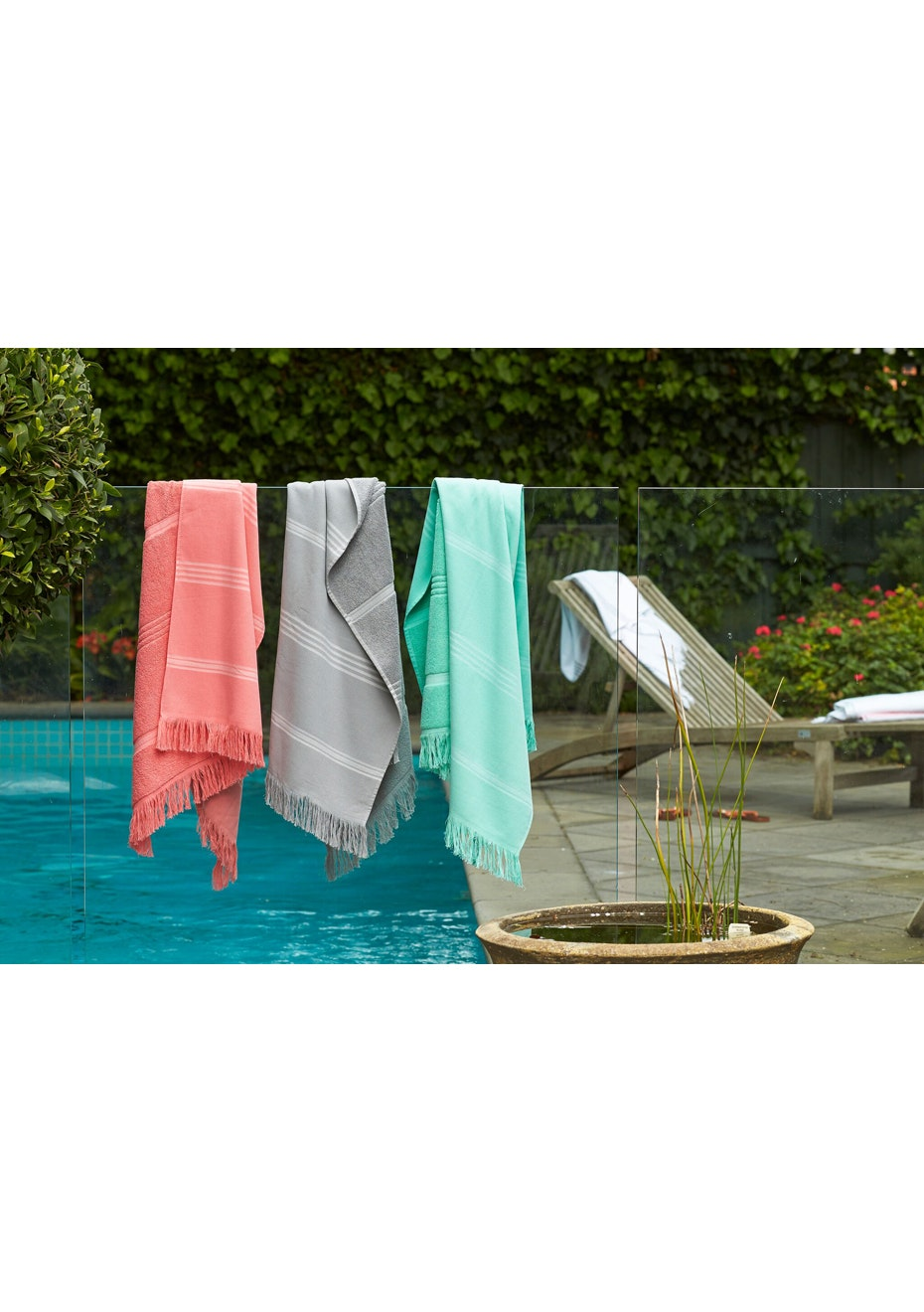 3 Pack Grey, Pink & Turquoise Turkish Towel