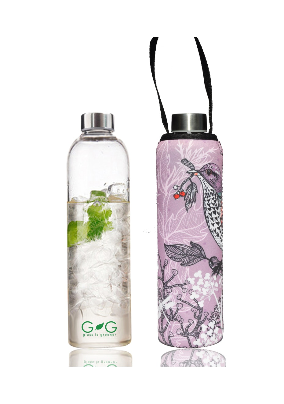 BBBYO - Glass Is Greener Bottle 750 ml + Carry Cover (Branch Print) -750 ml