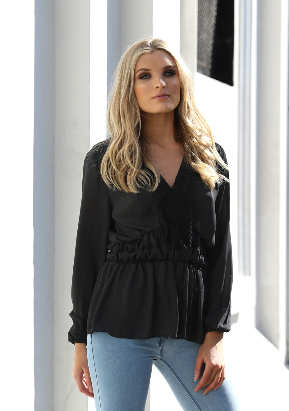 Madison - CANDICE BLOUSE - BLACK