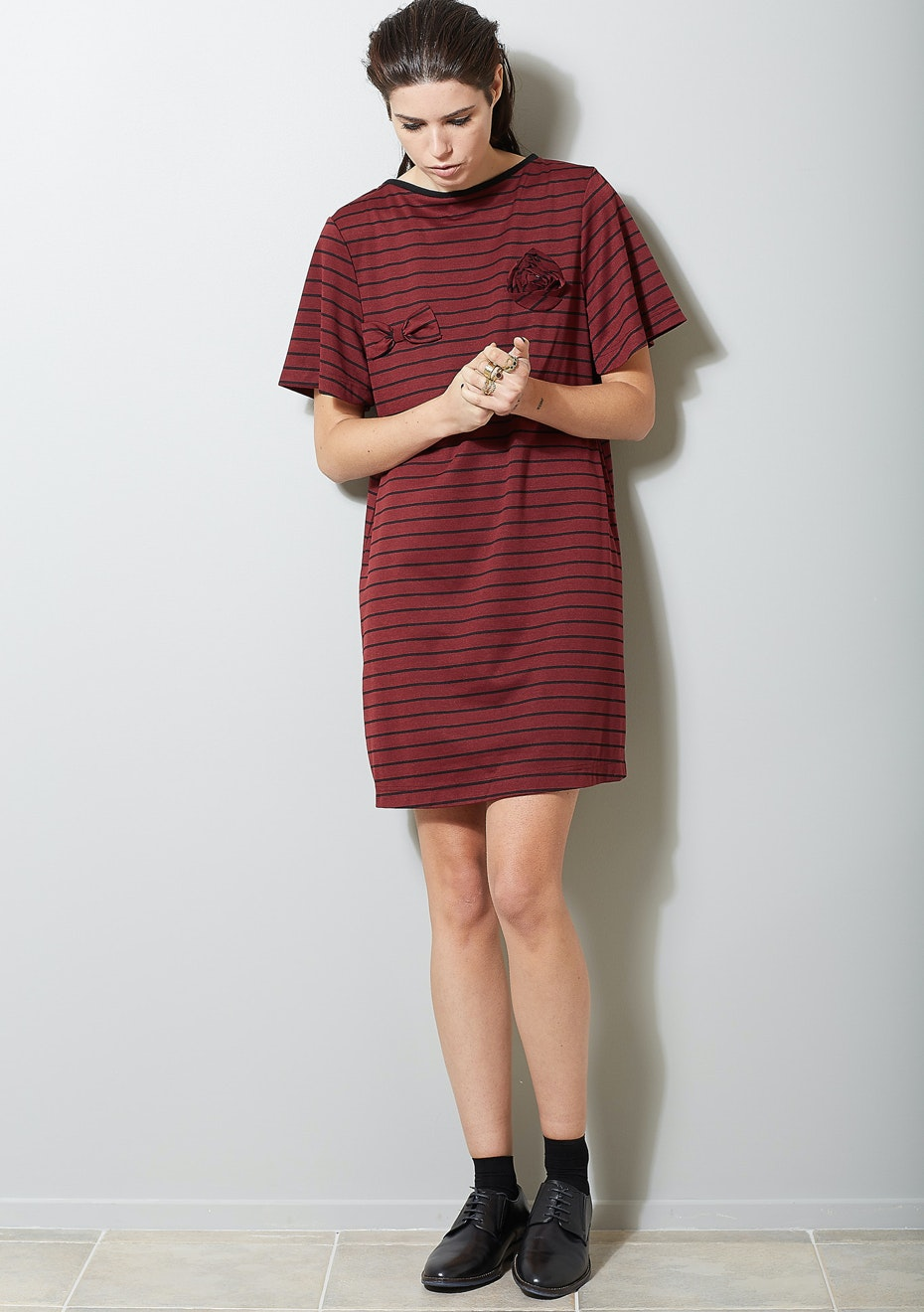Salasai - Rosette T Dress - Burgundy Stripe