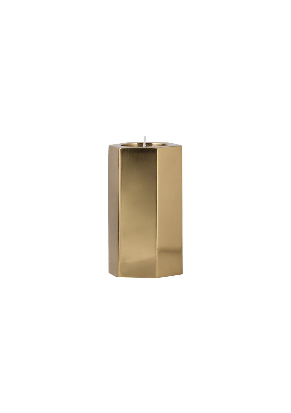 General Eclectic - Hex Tealight Holder Brass Medium
