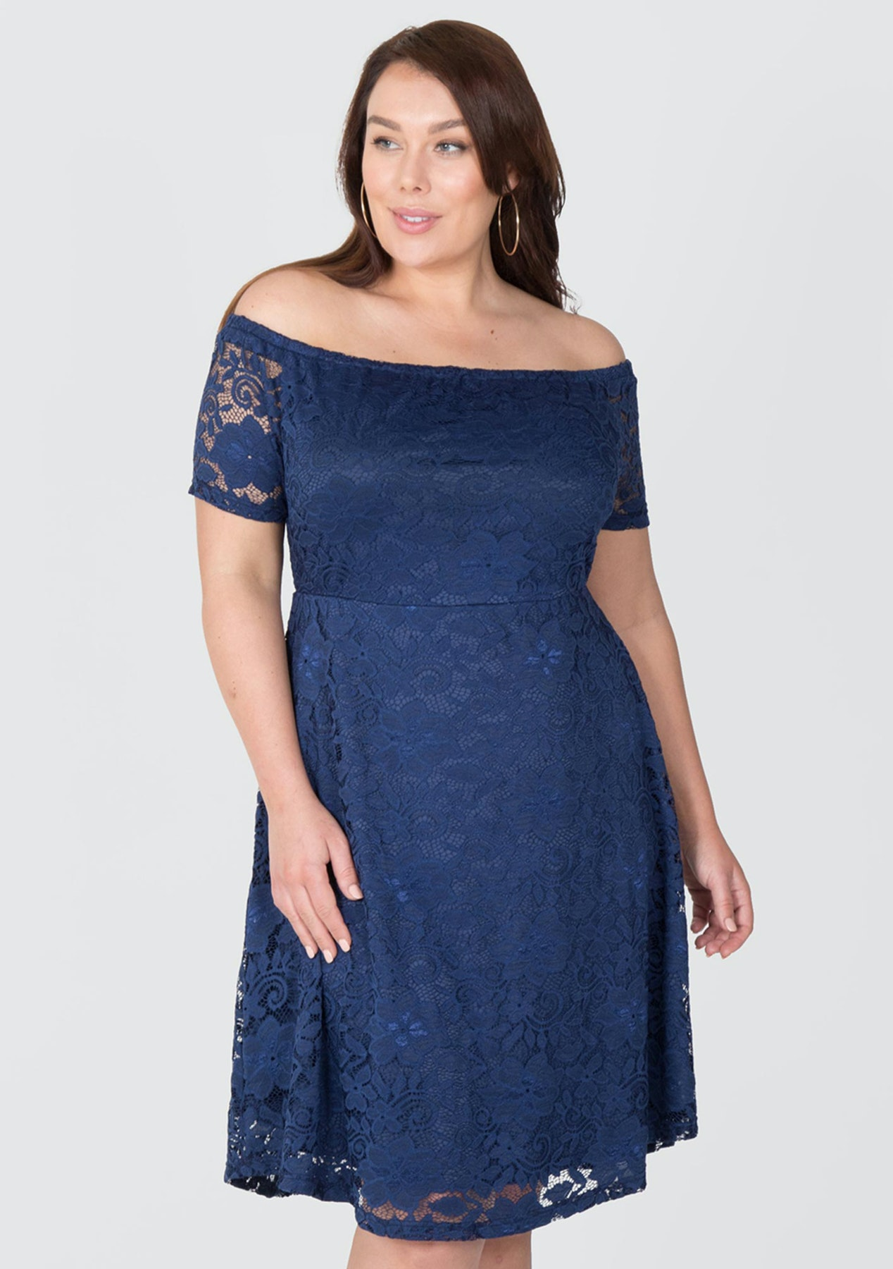 65c8cf02031 Love Your Wardrobe - Off The Shoulder Stretch Lace Dress - Navy