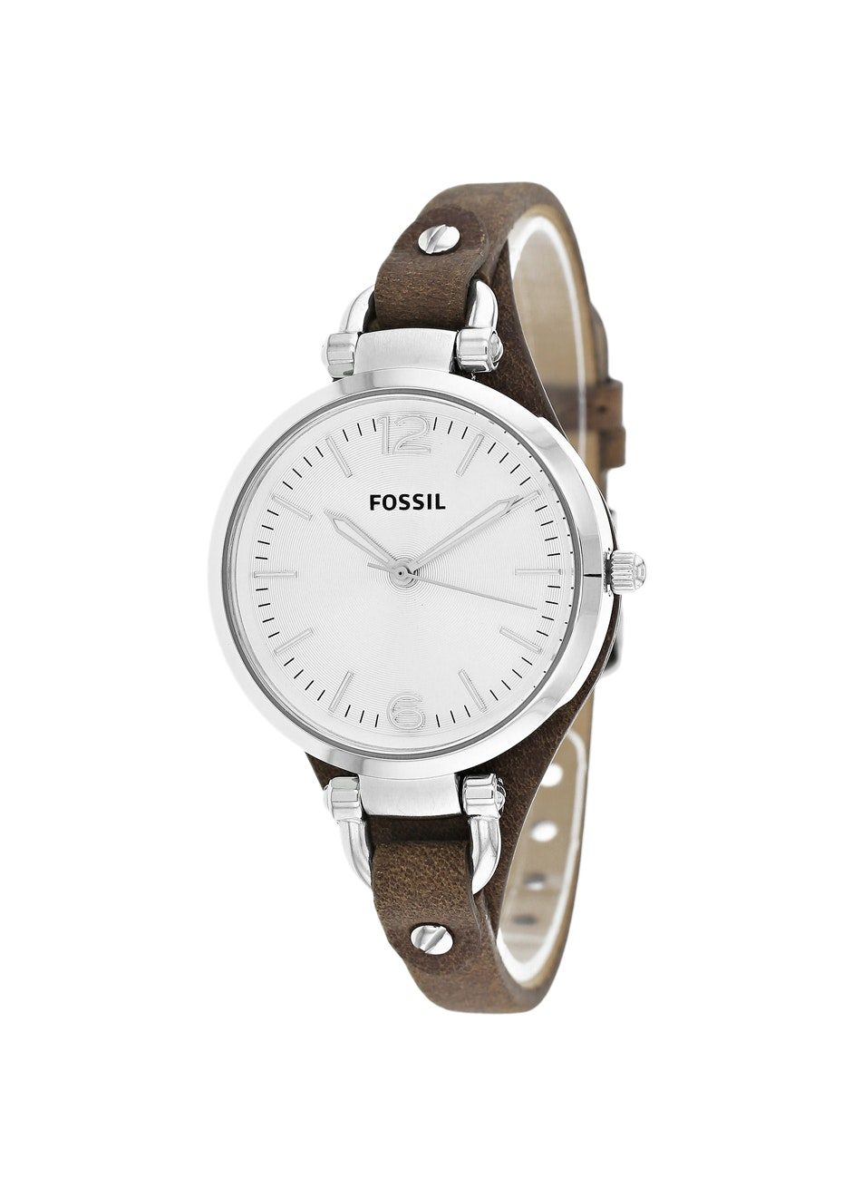 Fossil Women's Georgia - Silver/Chocolate Brown