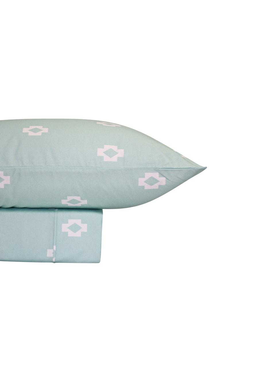 Thermal Flannel Sheet Sets - Tribal Design - Bay Blue - King Bed