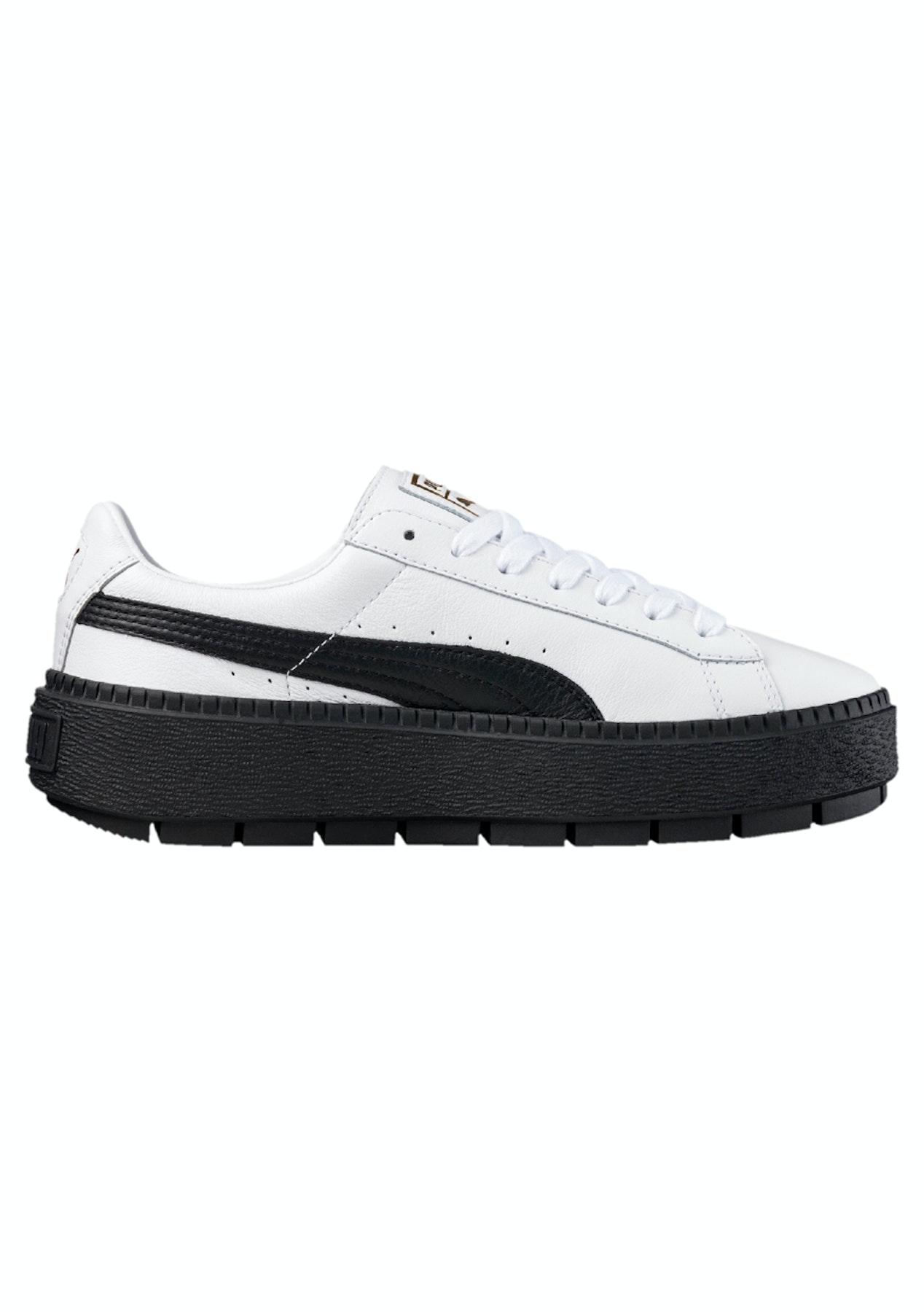 1866ecb4ba0 Puma Womens - Basket Platform Trace - White - Black - Street Shoes + Slides  - Onceit