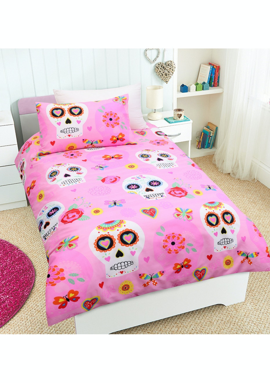 Candy Skulls Glow in the Dark Quilt Cover Set - Single Bed