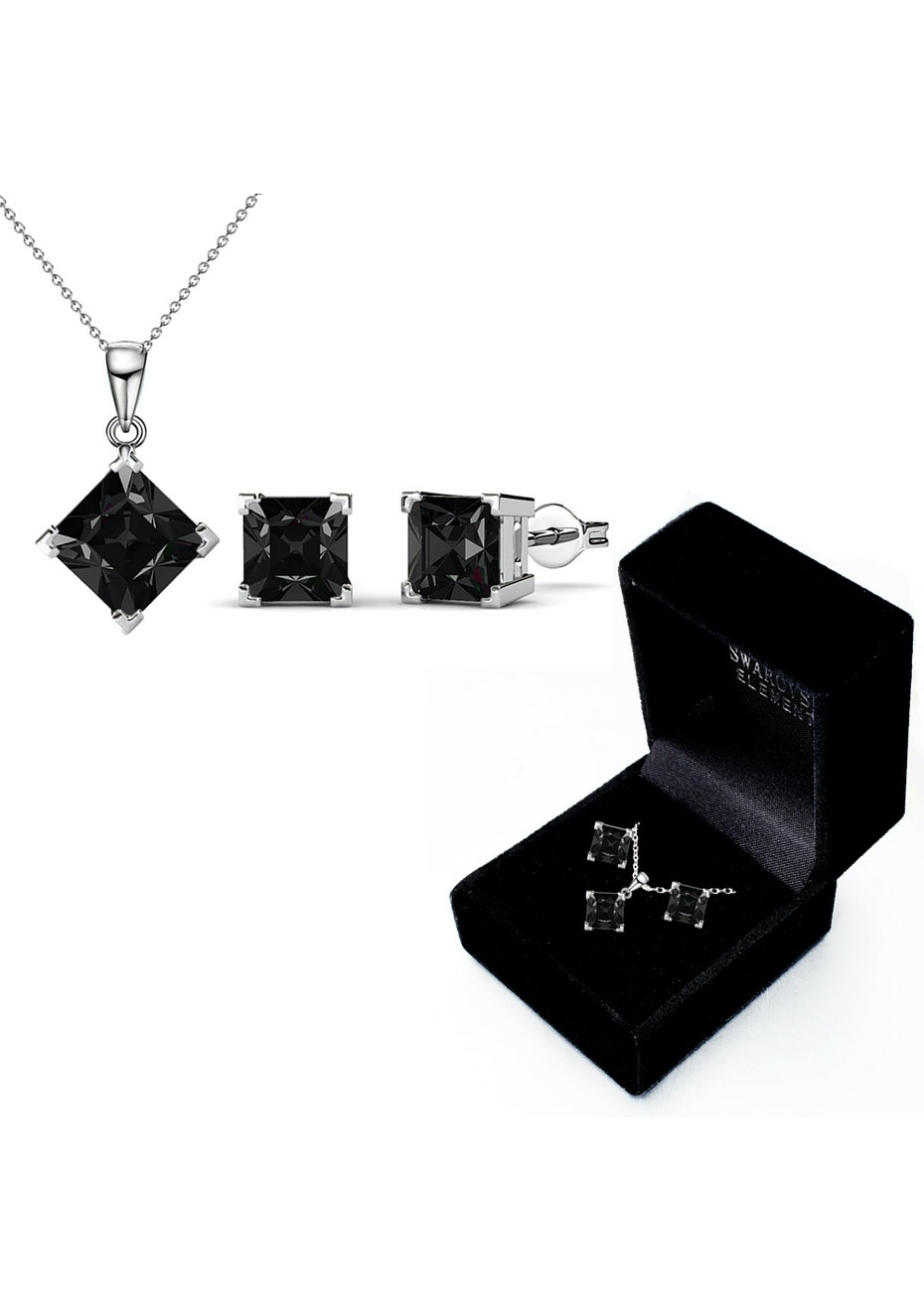 Boxed Matching Set Embellished with Crystals from Swarovski - Black