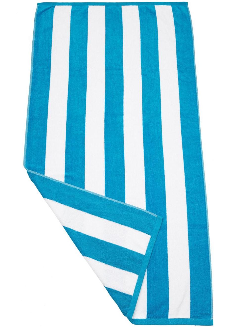 Havana Stripe Beach Towel Aqua/White