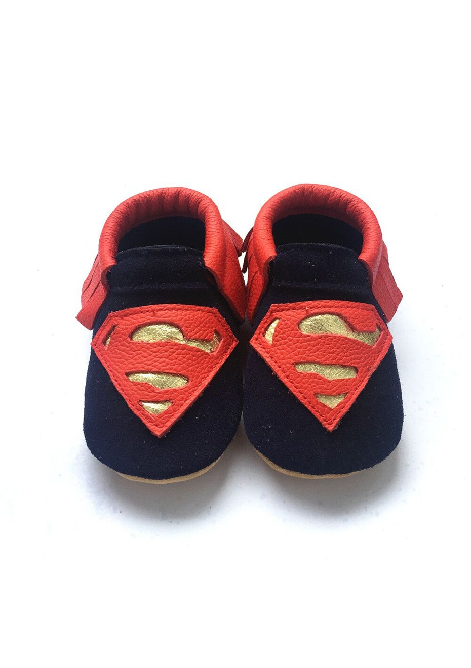 Baby  Leather Shoes - Navy / Red/ Gold