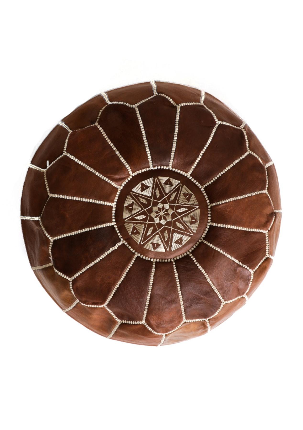 Moroccan Pouf - Dark Tan
