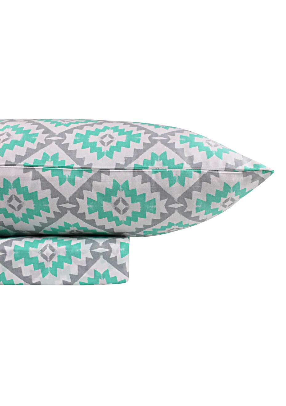 1000 Thread Count –Yukata Print Sheet Sets -Mint | Silver - Queen Bed