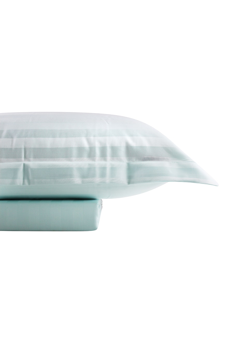 1000 Thread Count - Cotton Rich Quilt Cover Set Sateen Stripe - Mint - Queen Bed
