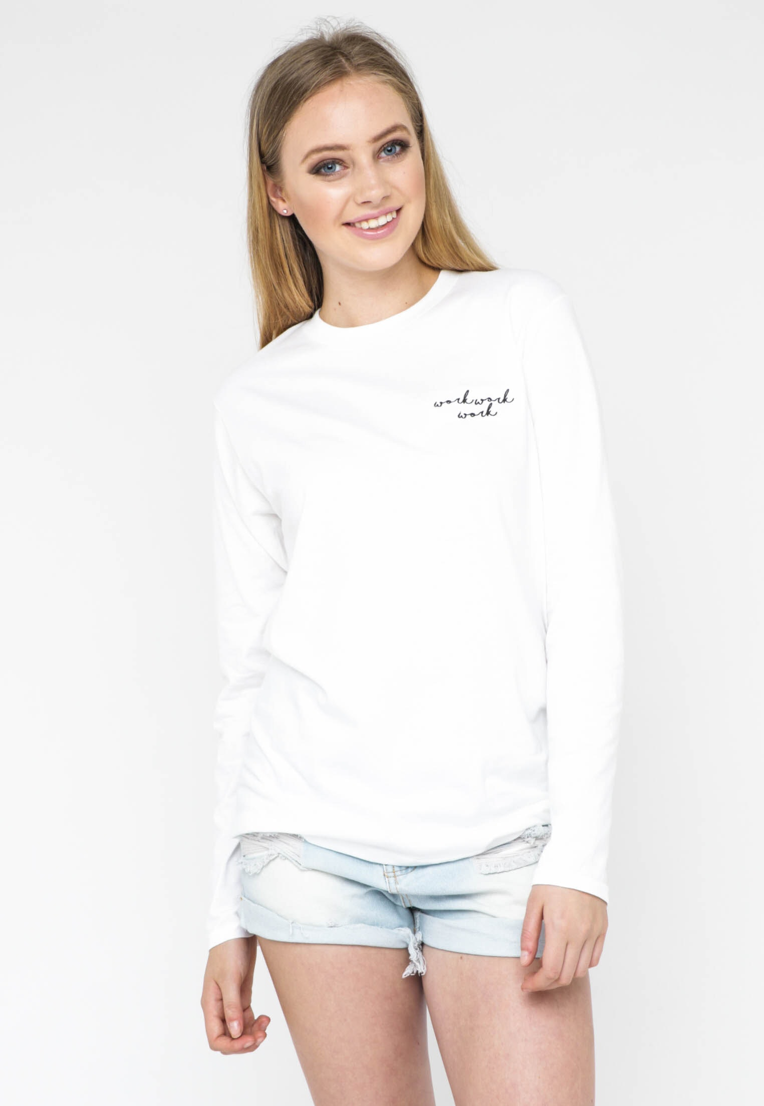 Embroidered Long Sleeve Tee - Work Work Work