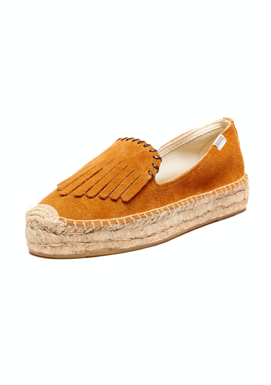 Soludos - Platform Smoking Slipper Suede Fringe - Saddle