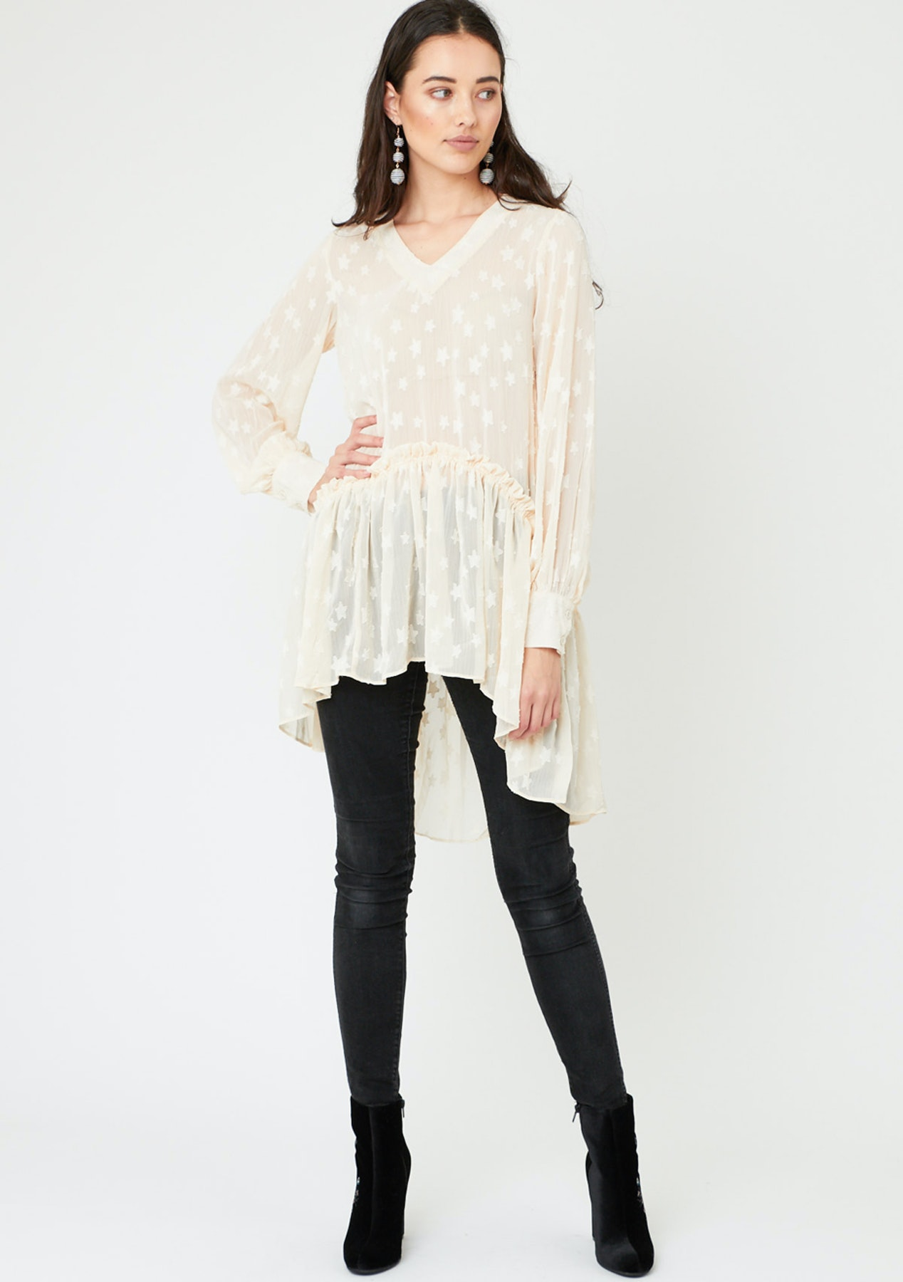 3cc020ae71f84 Sheer Jaquard Star Dress/Top