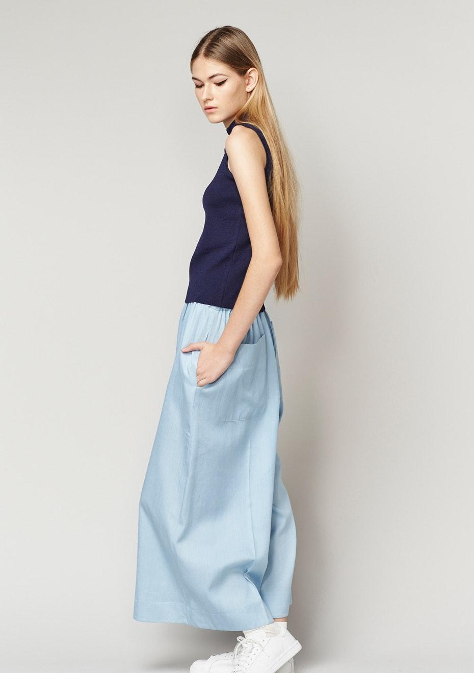 Achro - Tencel Denim Wide Leg Culottes - Light Blue