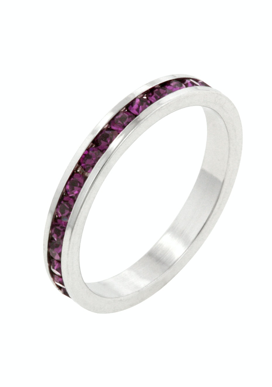 Stackable Ring - White Gold w Purple Embellished with Crystals from Swarovski