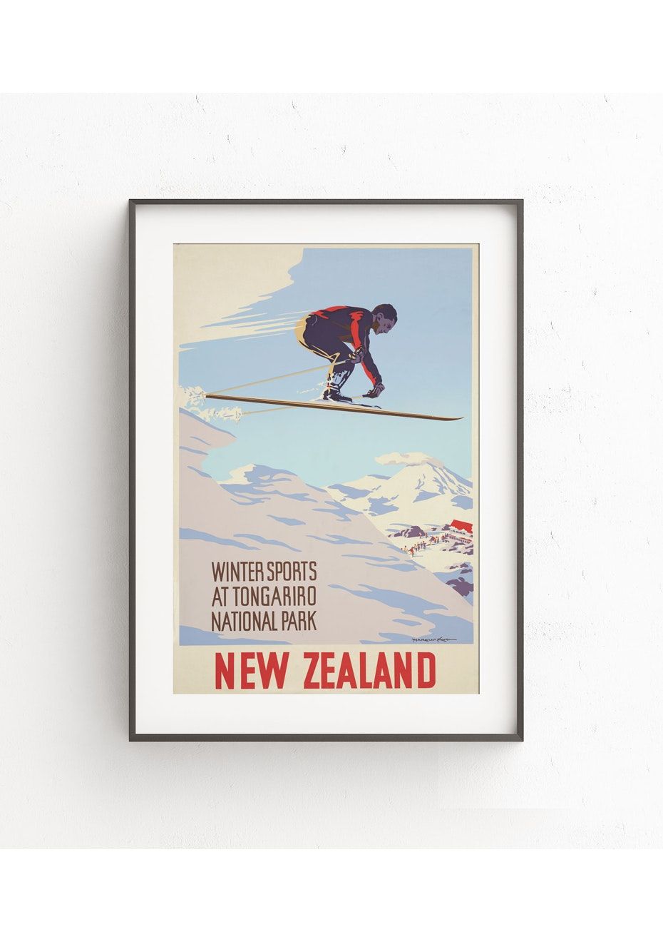 Tongariro National Park Vintage Tourist Print - A1