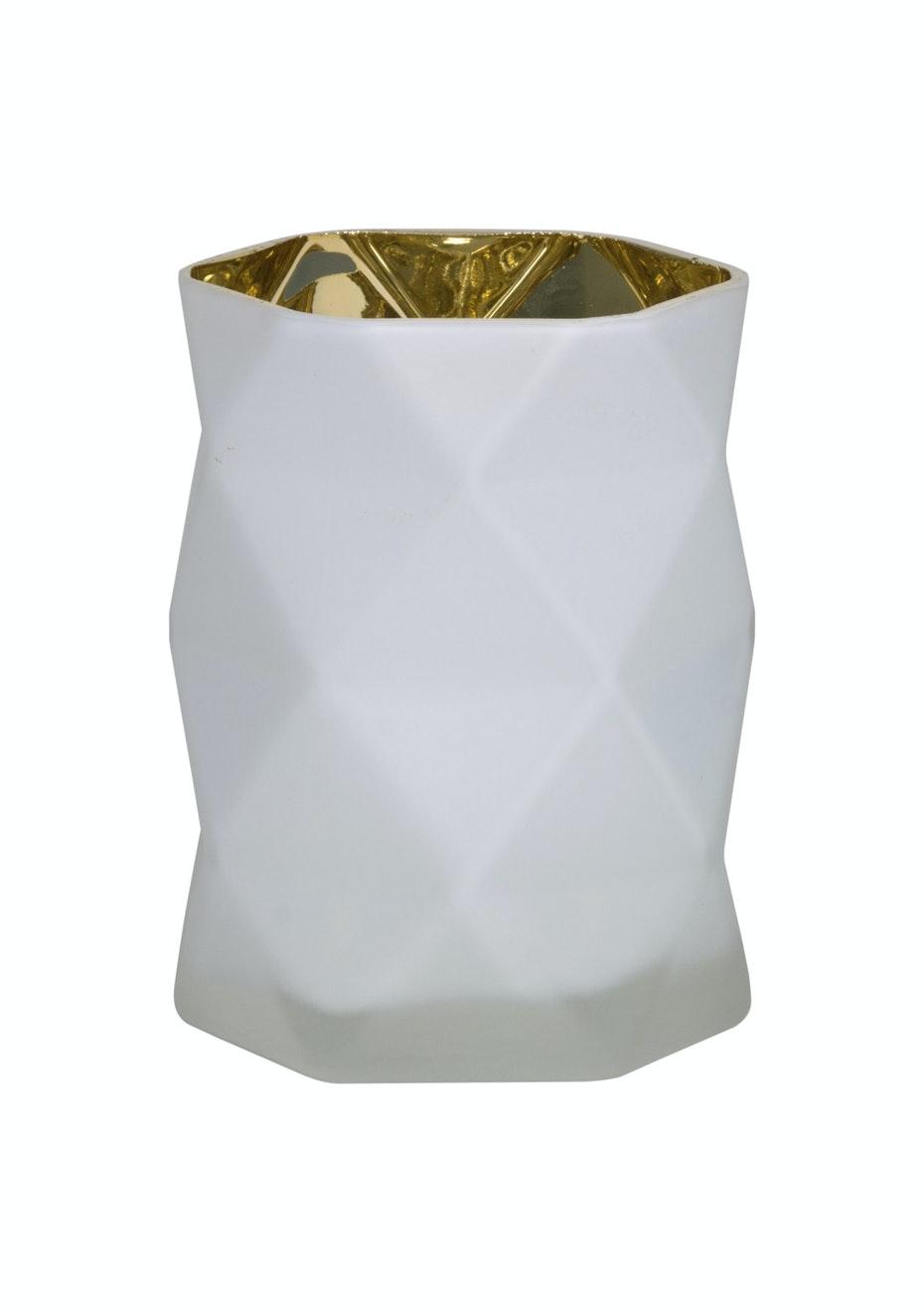 Jason - Geometric Candle Holder - White/Gold