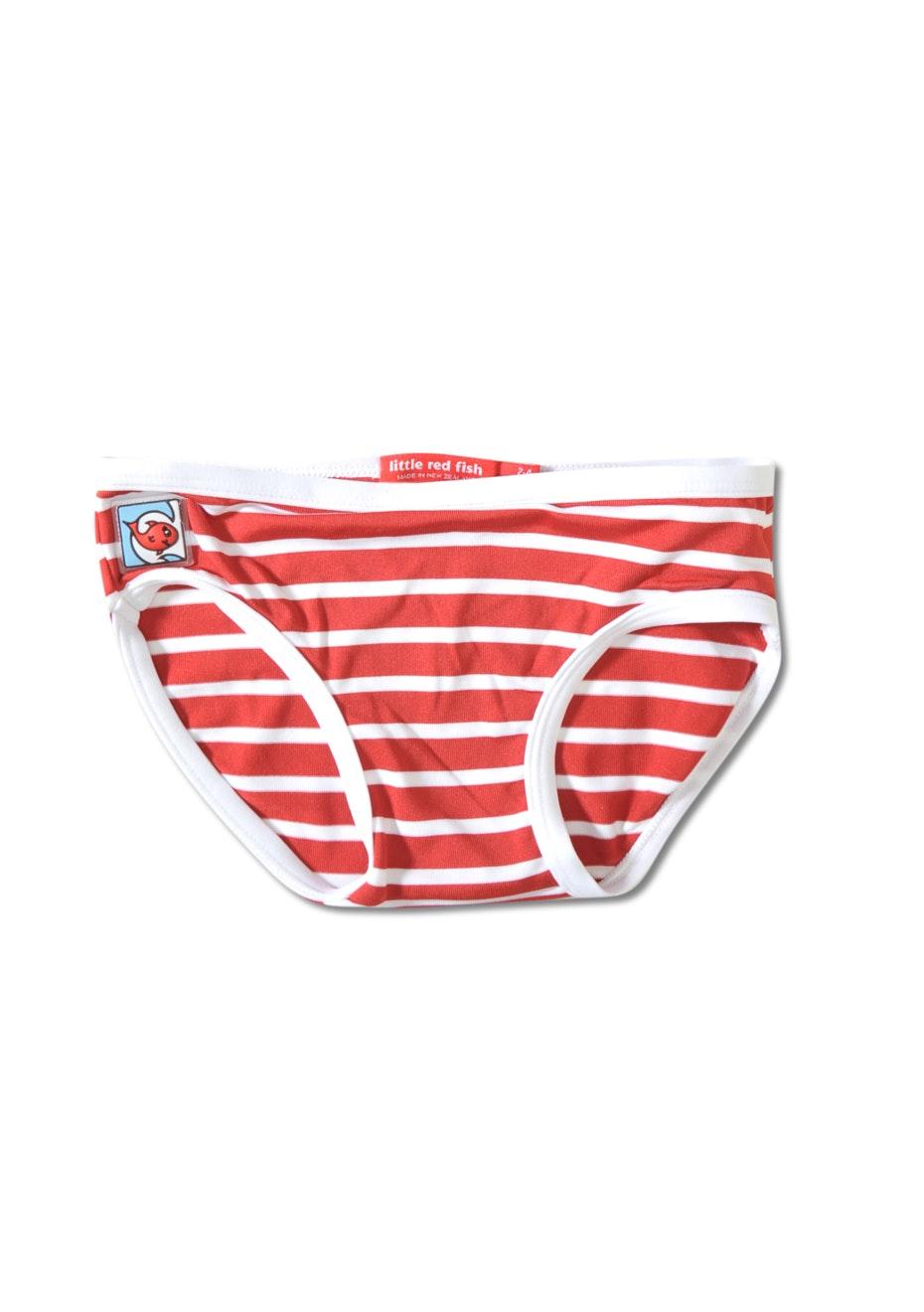 Little Red Fish - Bikini Pants - Red & White